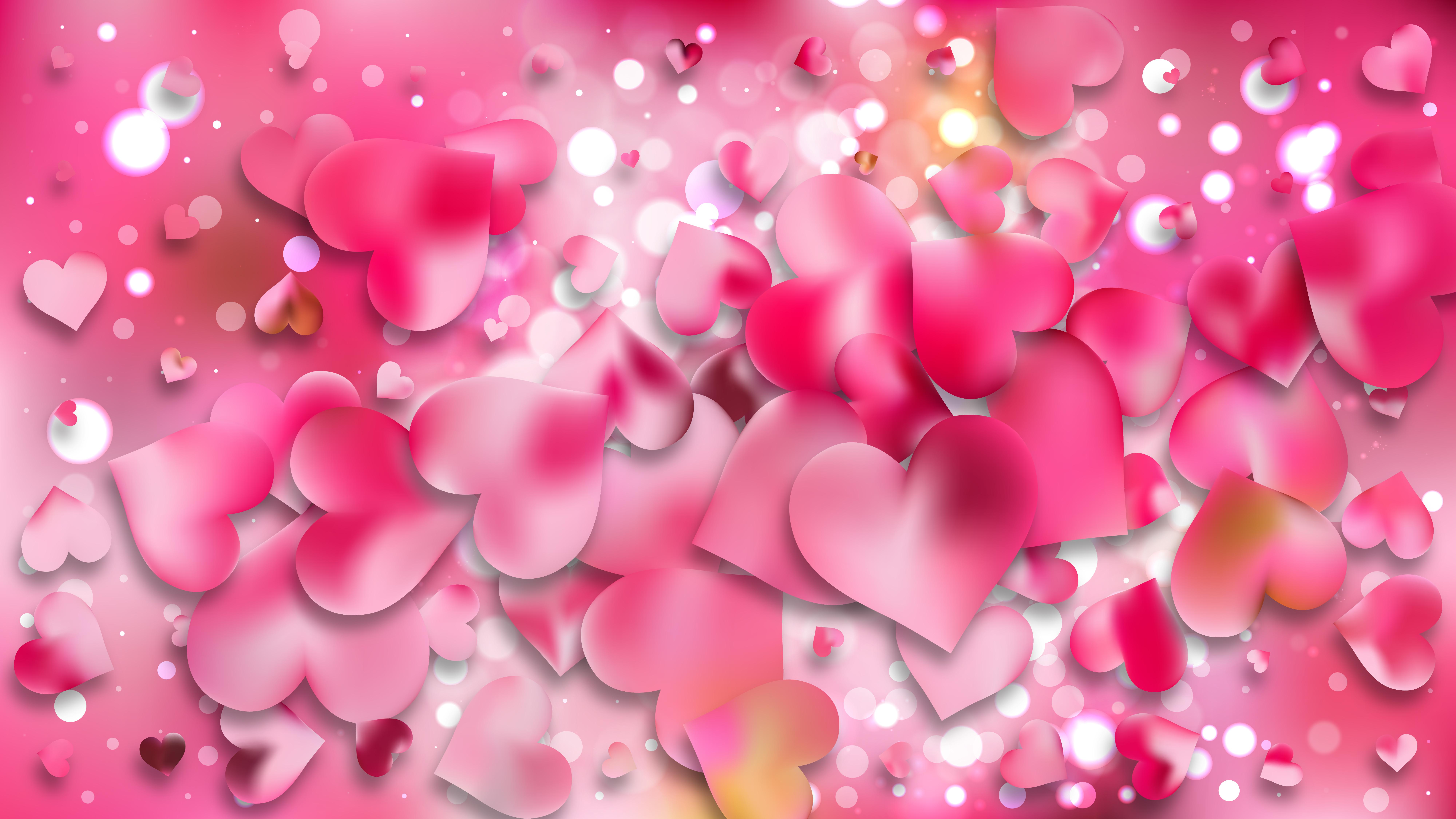 Pink Heart Wallpaper Background Vector Image