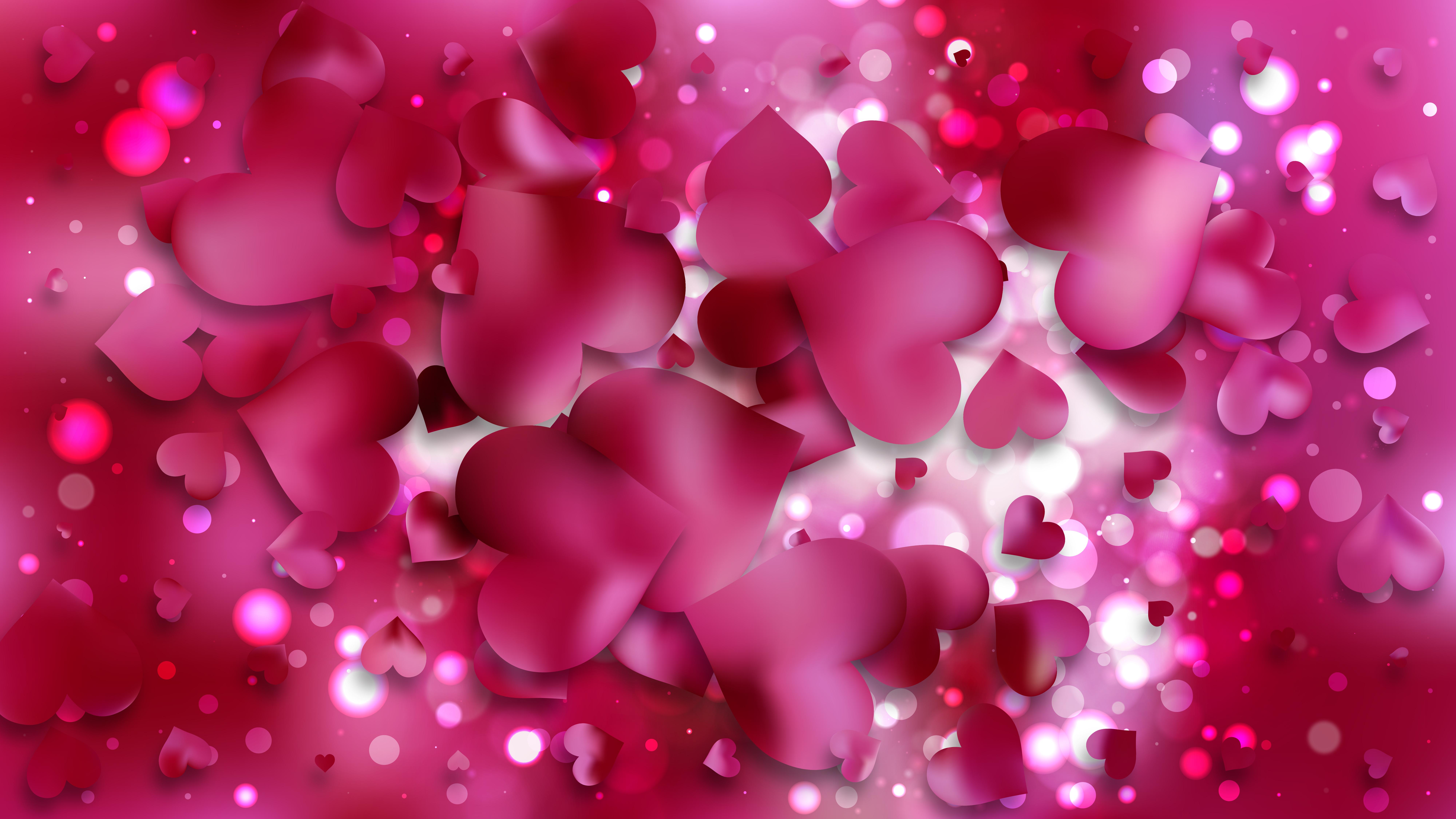 Pink Heart Wallpaper Background Vector Art