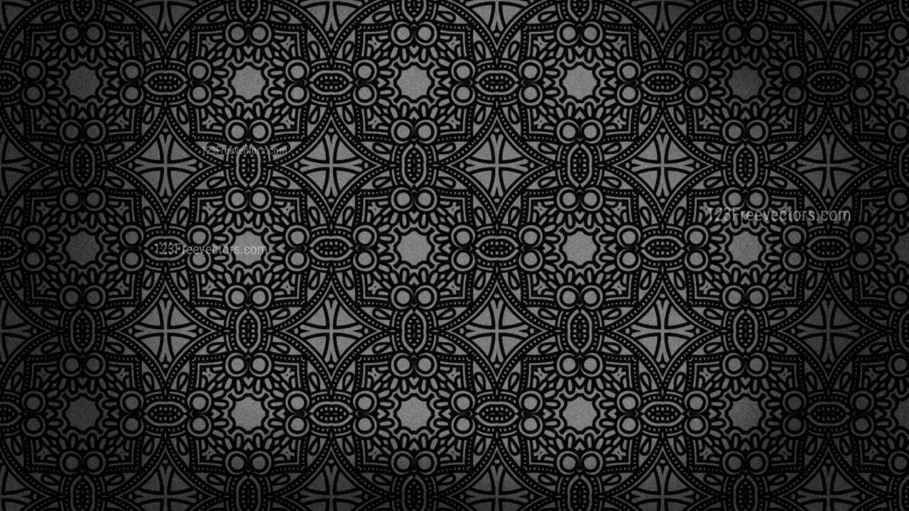 Black Vintage Floral Pattern Wallpaper