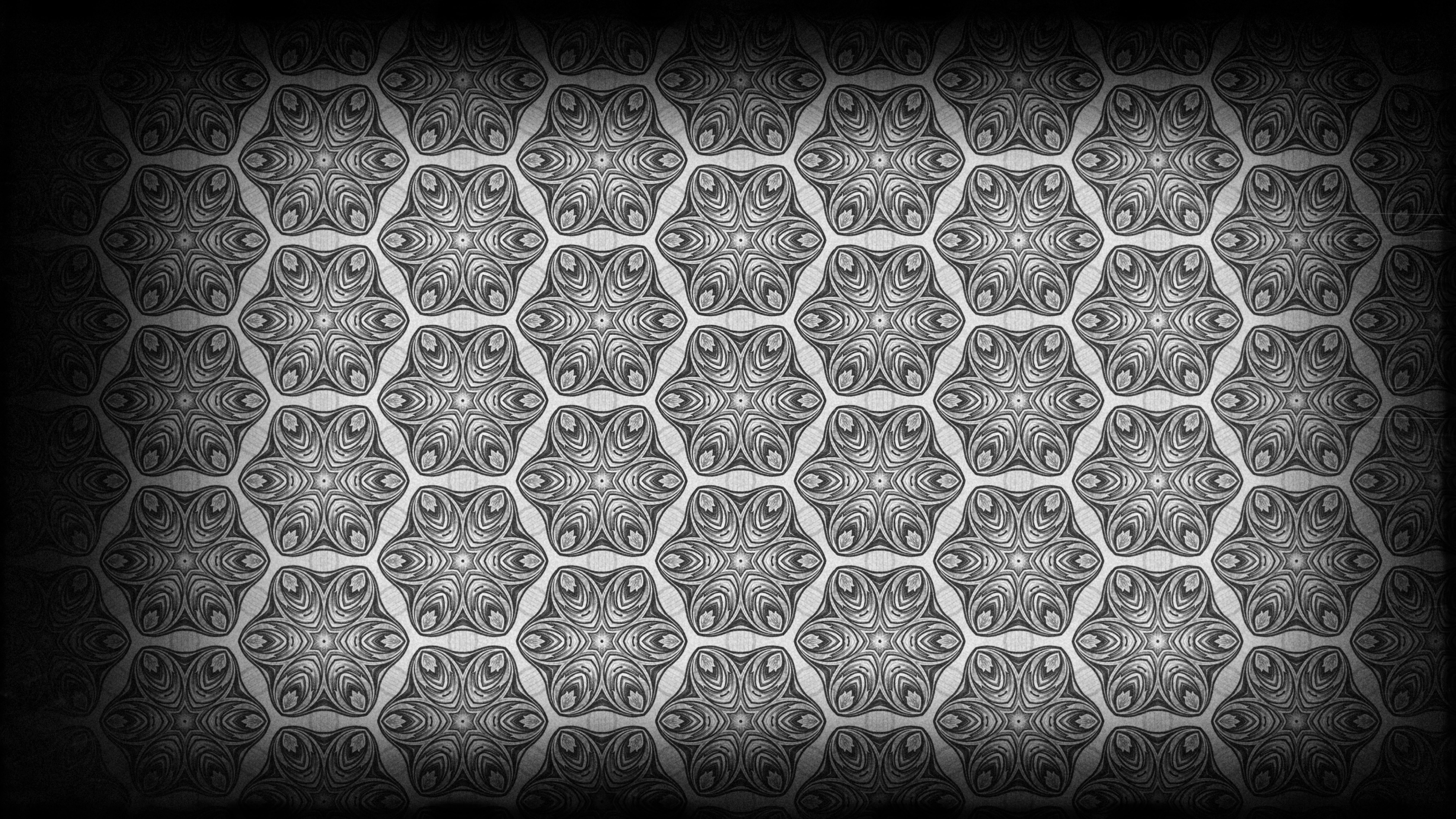 Black And Grey Vintage Floral Pattern Background