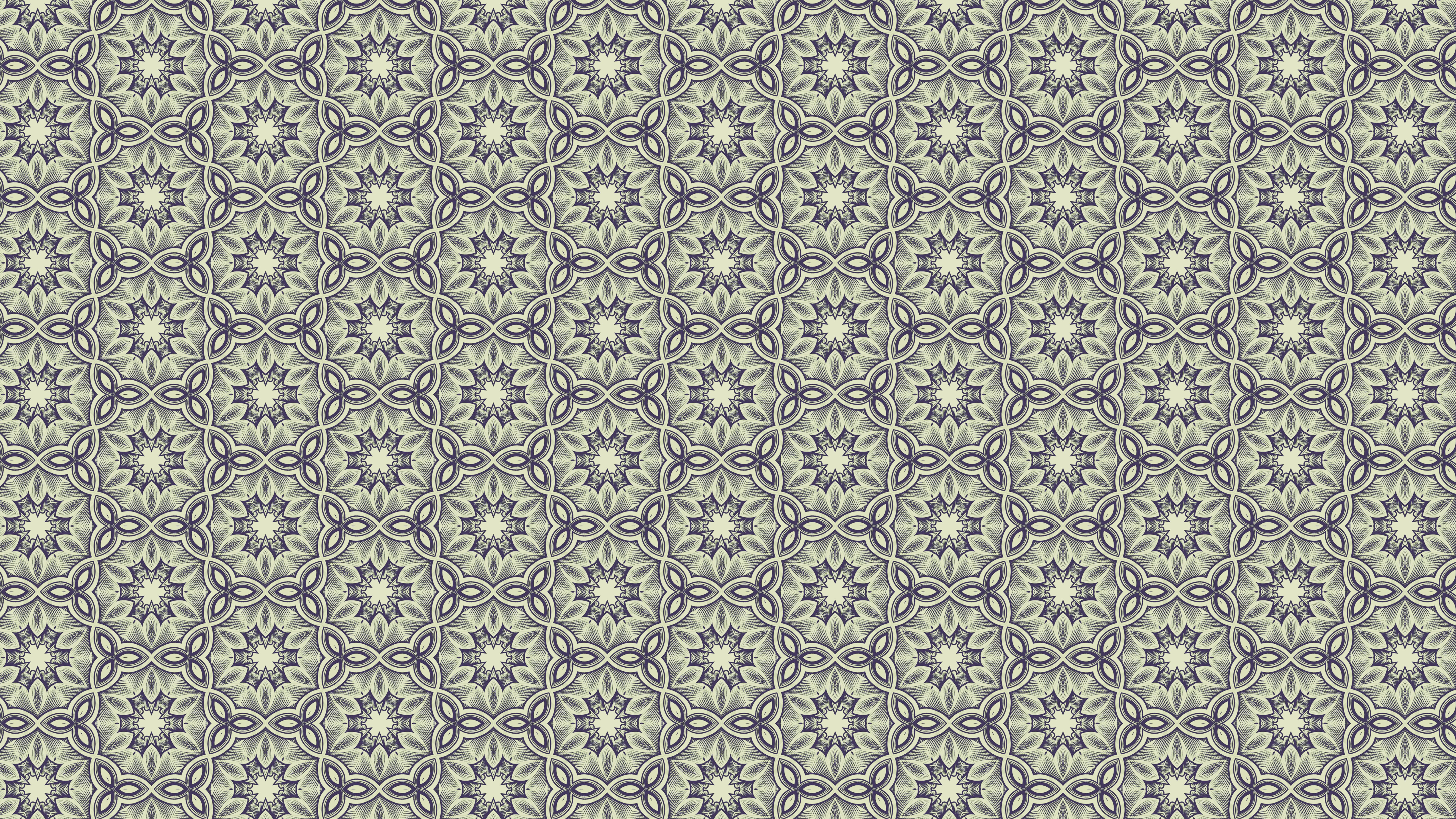 Blue And Green Vintage Floral Pattern Wallpaper