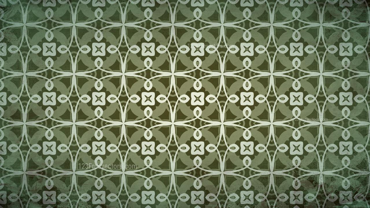 Dark Green Vintage Floral Pattern Wallpaper