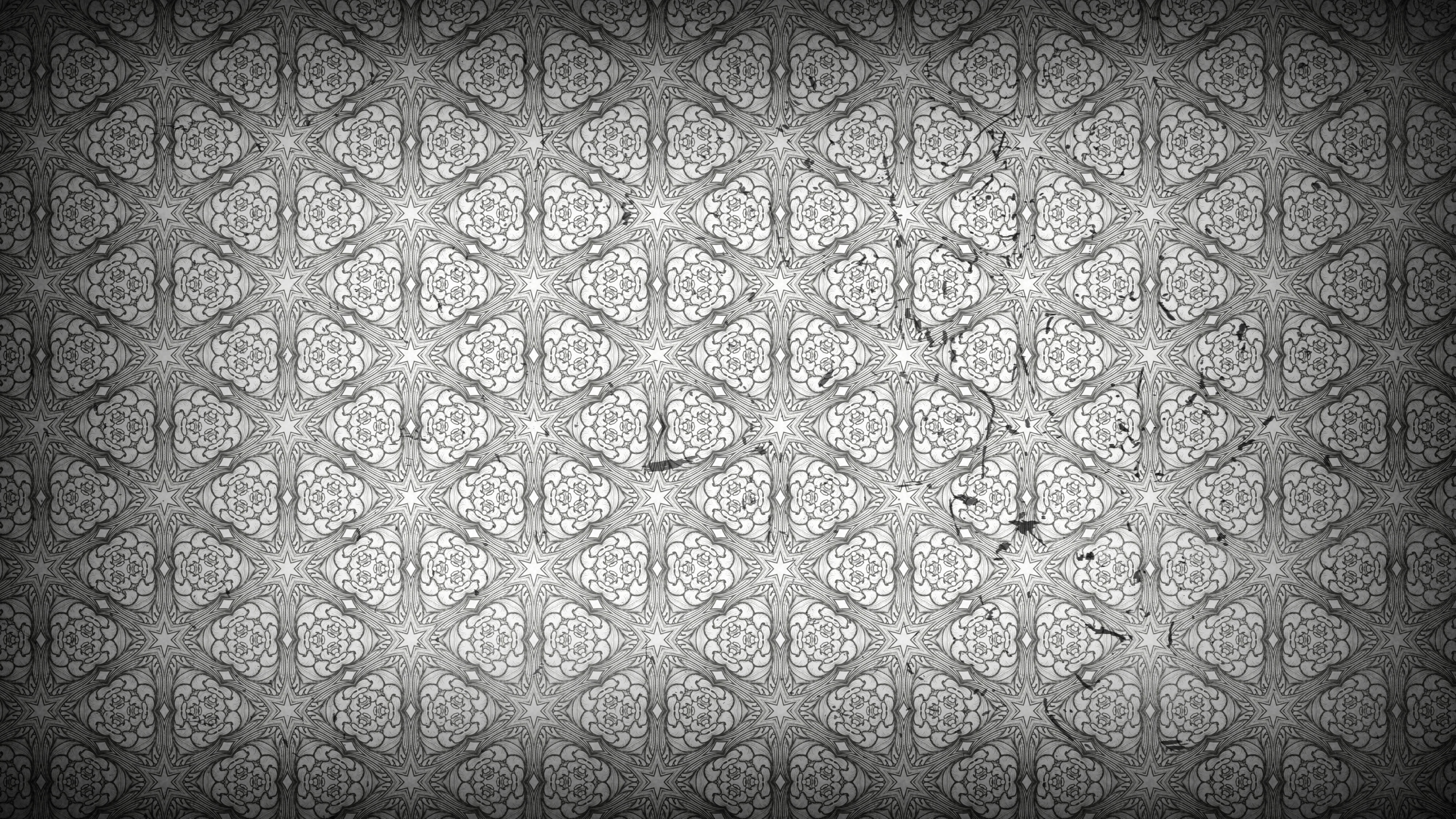 Dark Gray Floral Pattern Wallpaper