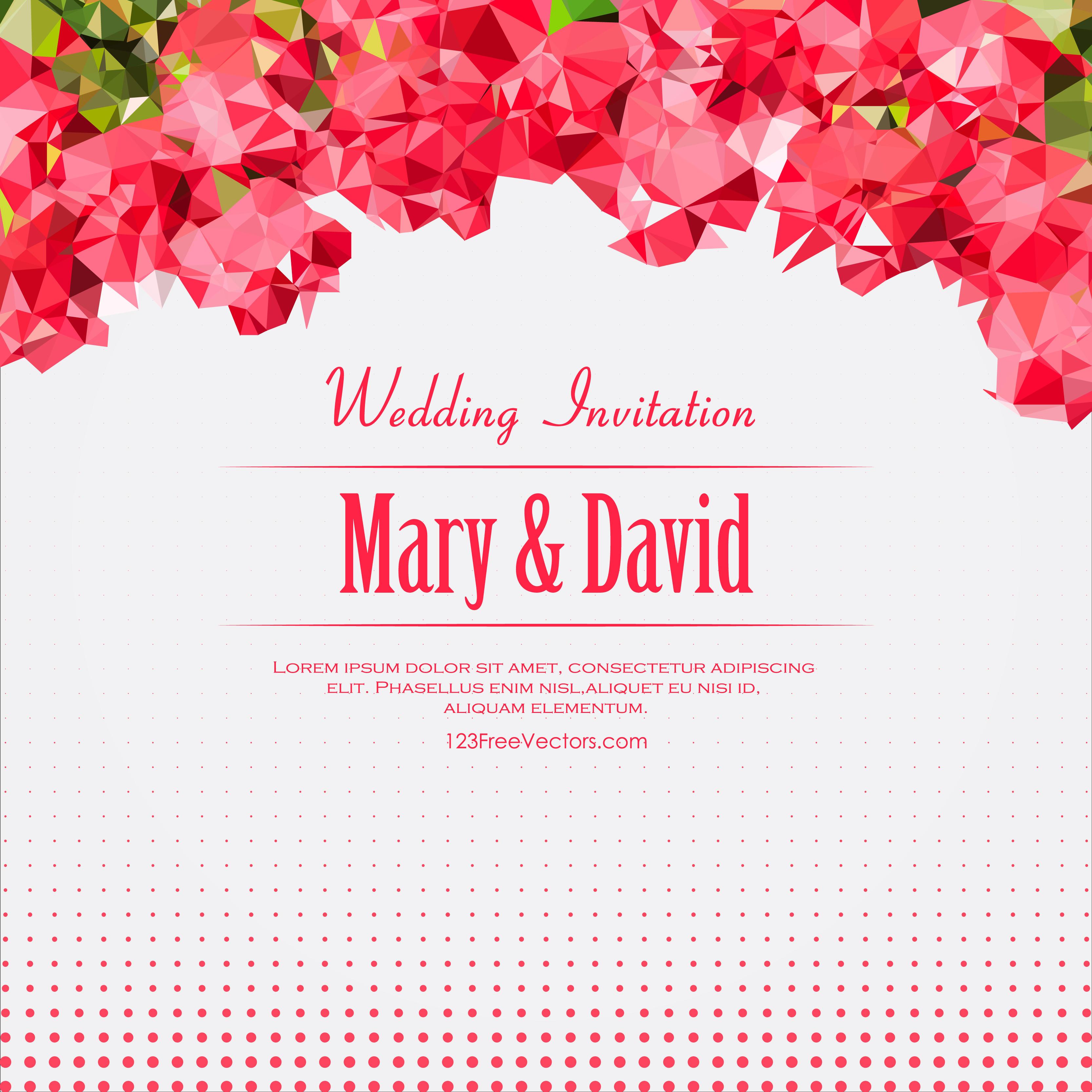 Wedding Invitation Card 75 Trend Abstract Pink Polygonal Wedding