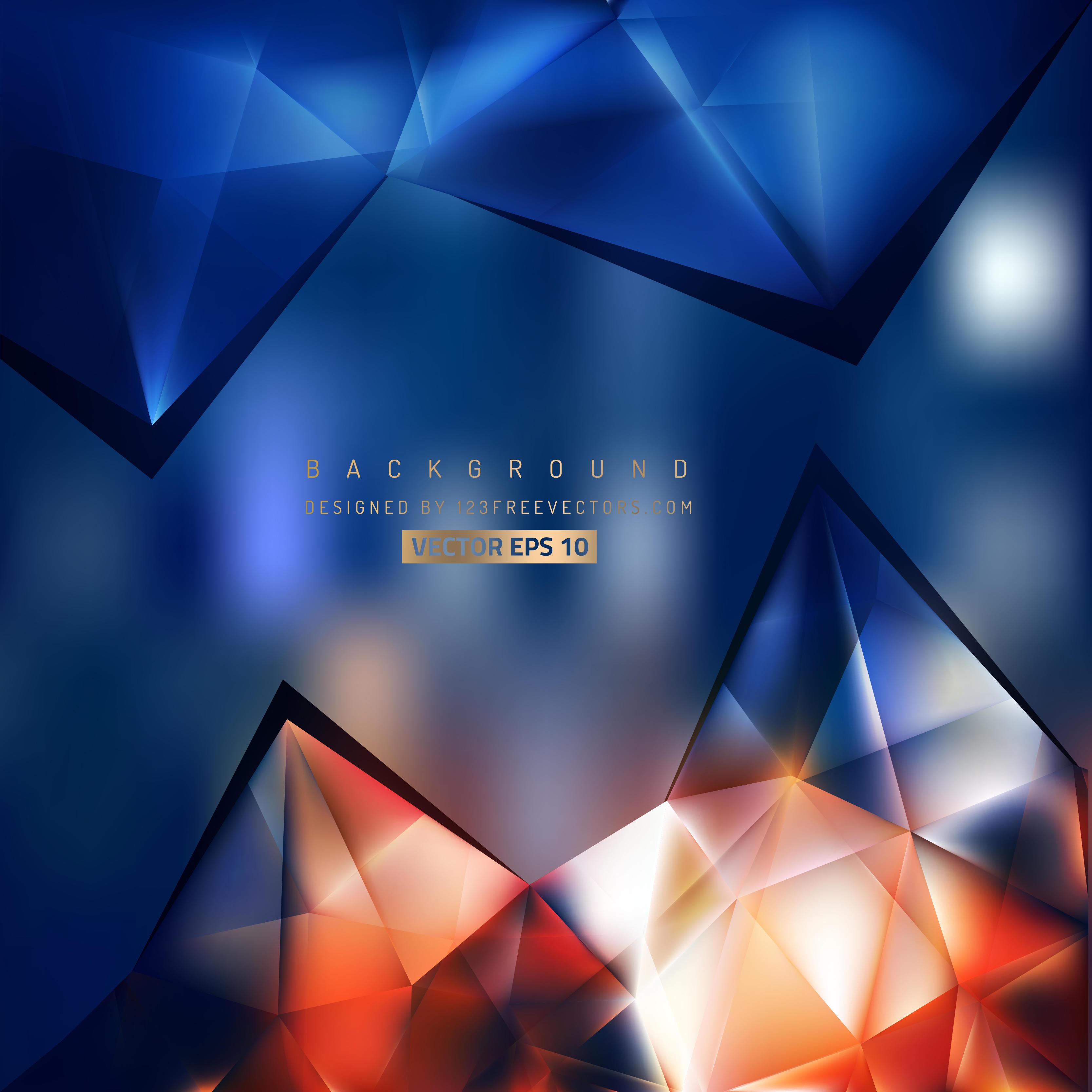 Dark Blue And Gold Bedroom Ideas: Abstract Dark Blue Orange Triangle Polygonal Background
