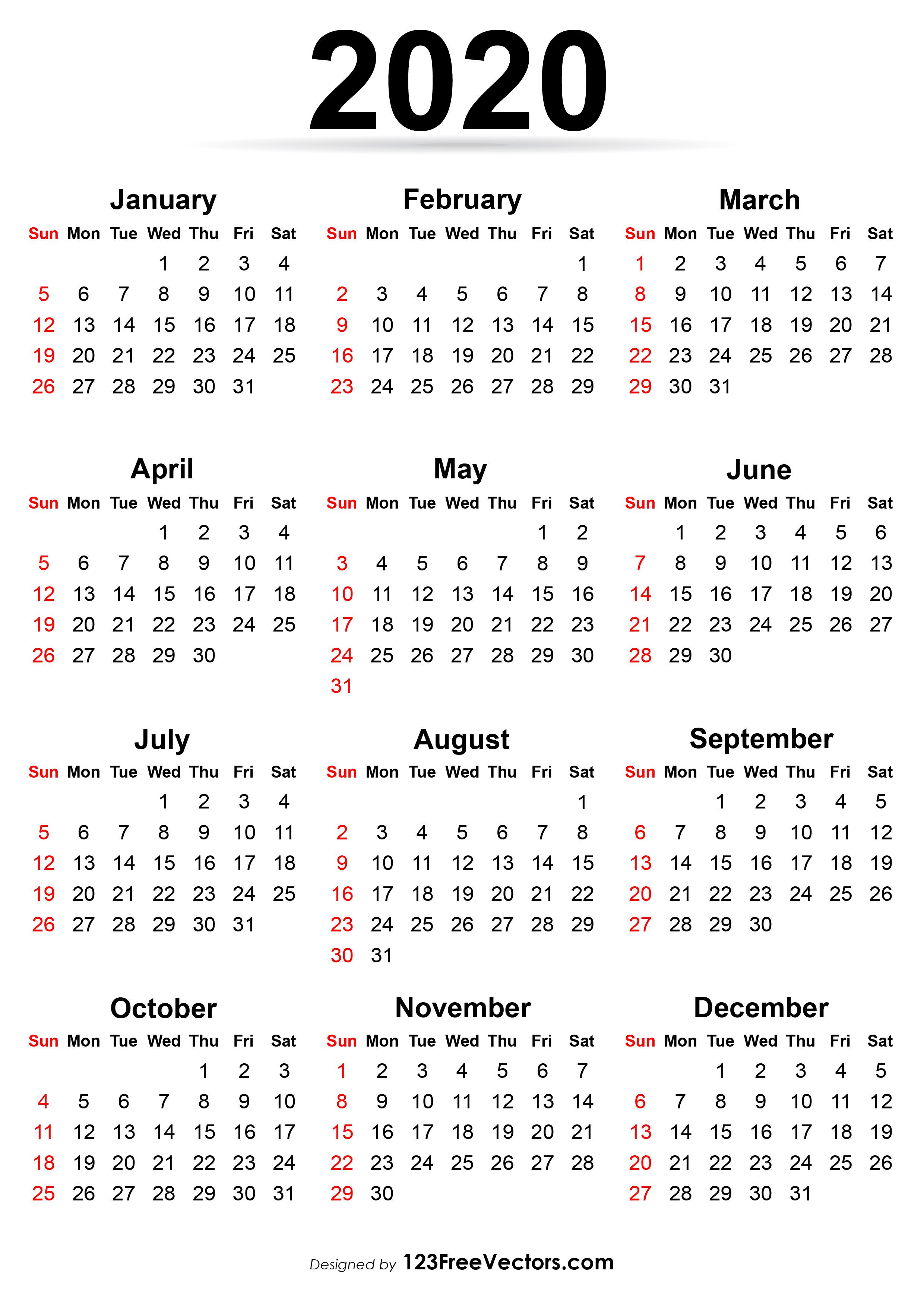 2020 Calendar Printable.Printable Calendar 2020