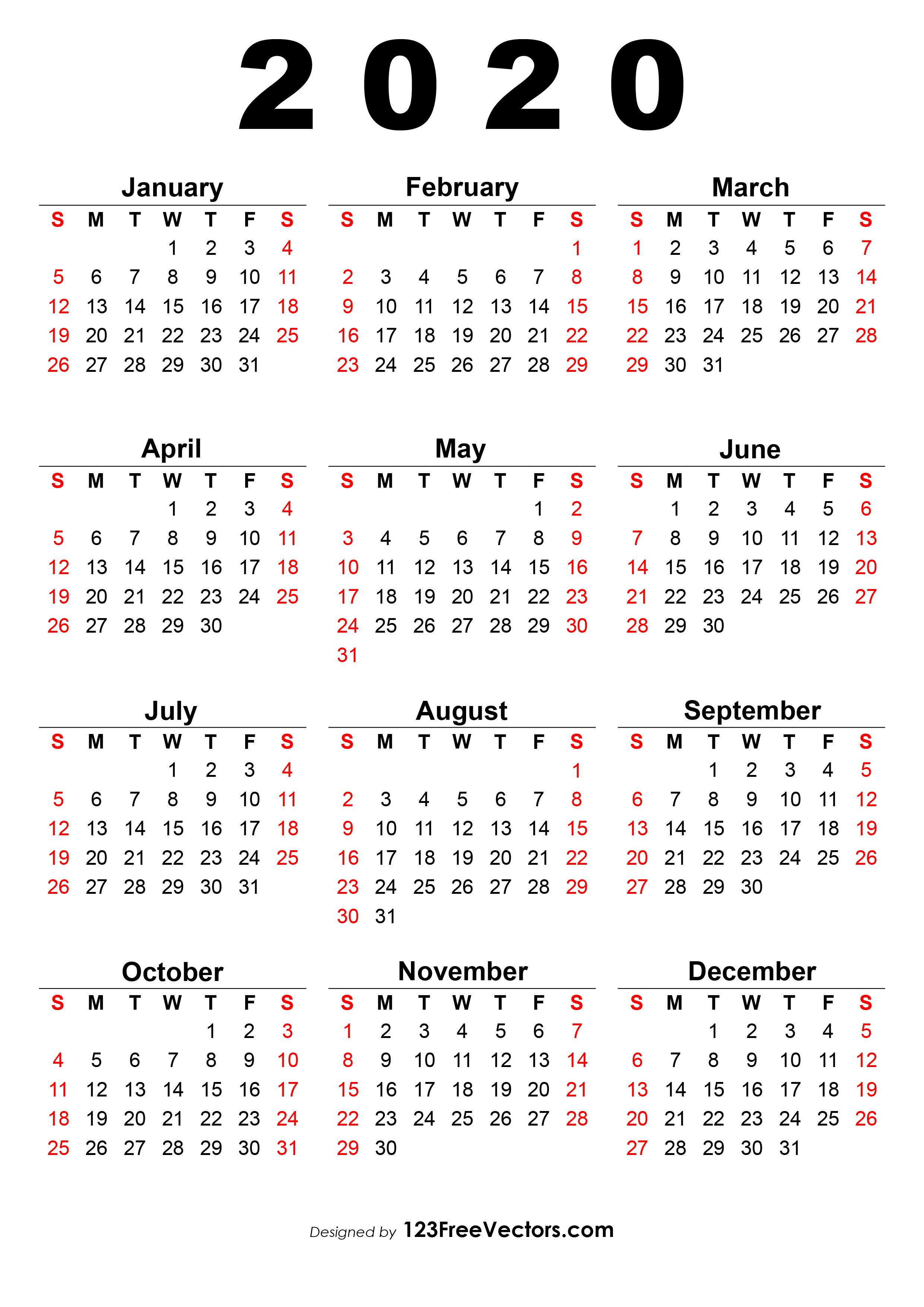 Printable 2020 Calendar One Page.2020 Calendar One Page