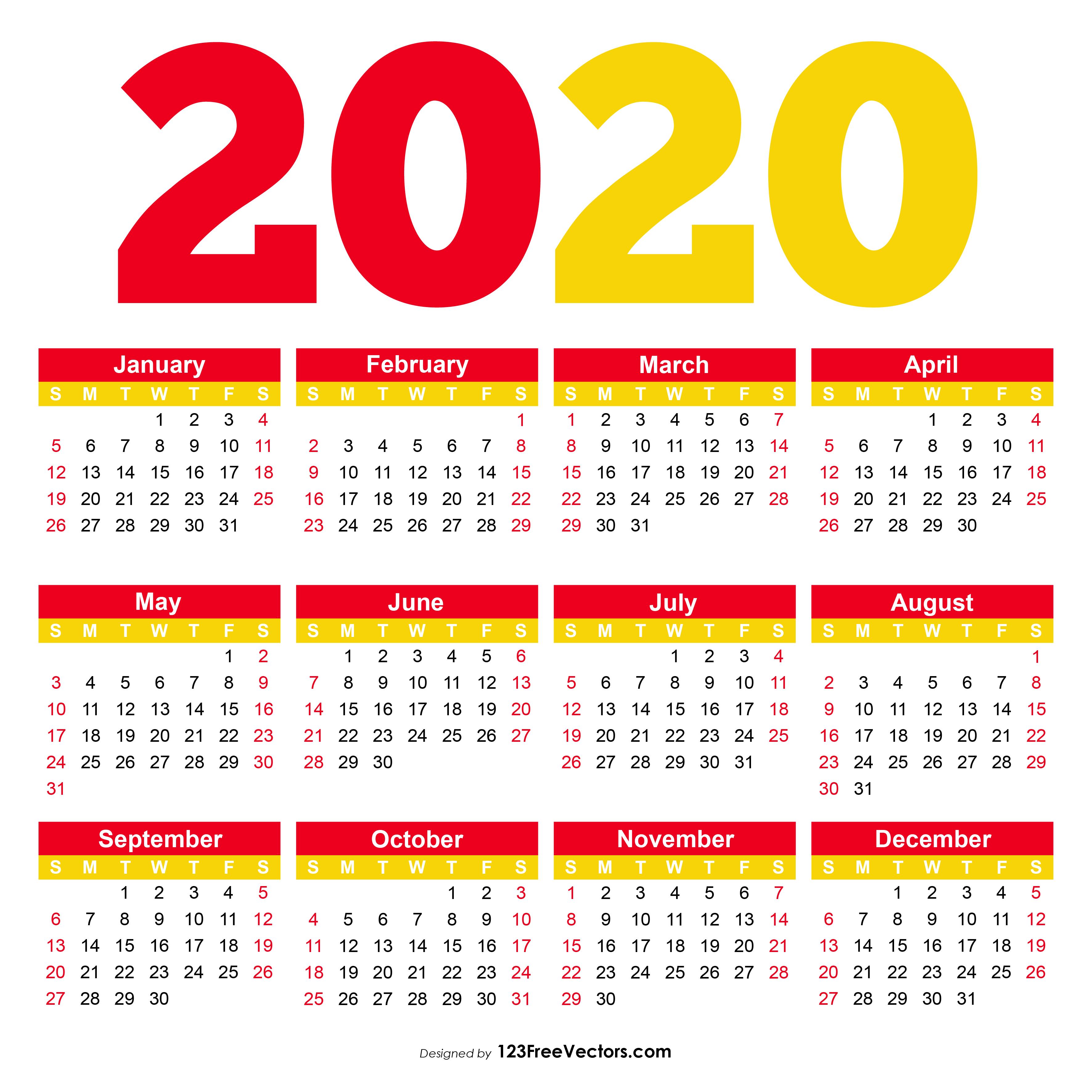 Free Printable Calendar 2020 Pdf