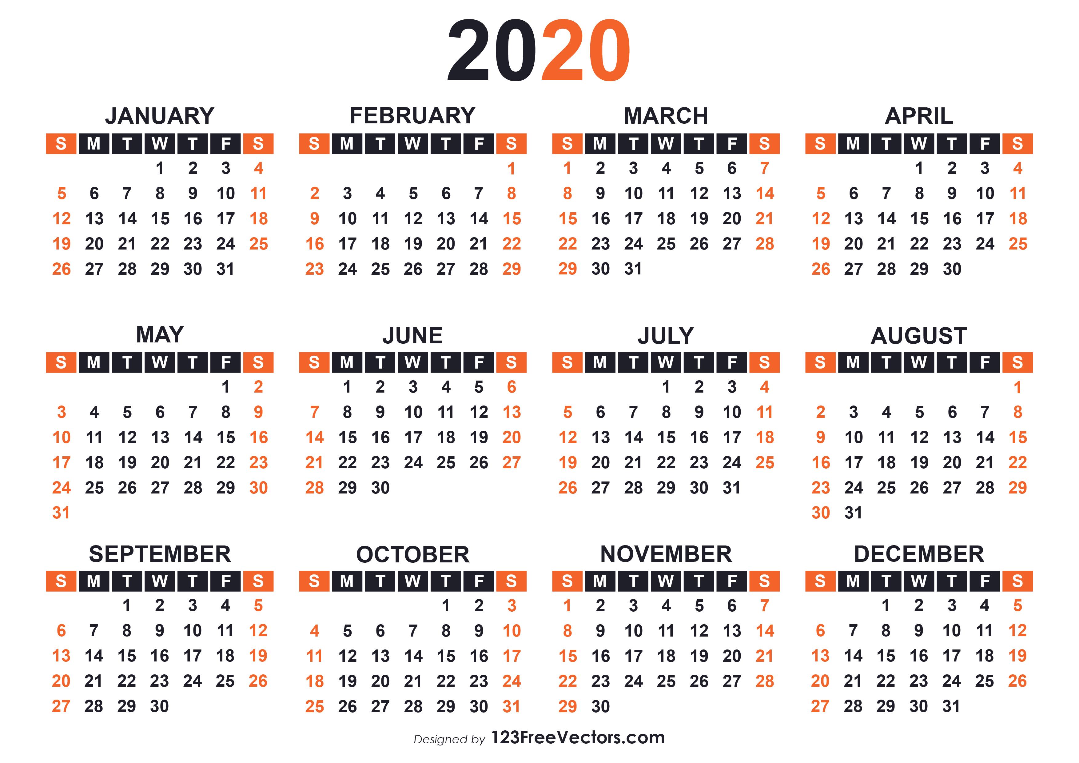 Free Calendar 2020 Printable.2020 Free Printable Calendar Templates