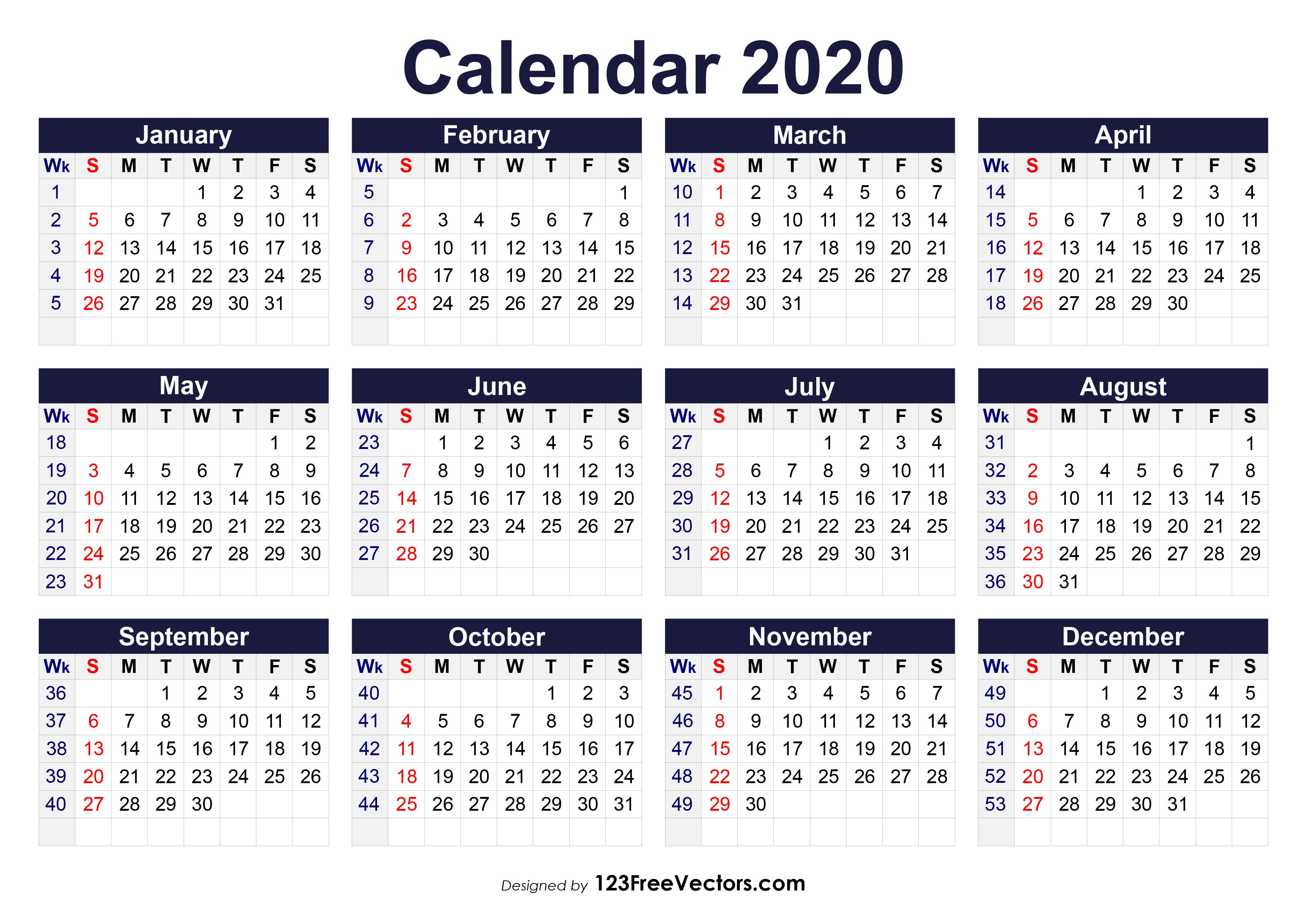 2020 Weekly Calendar Printable.Printable 2020 Calendar With Week Numbers
