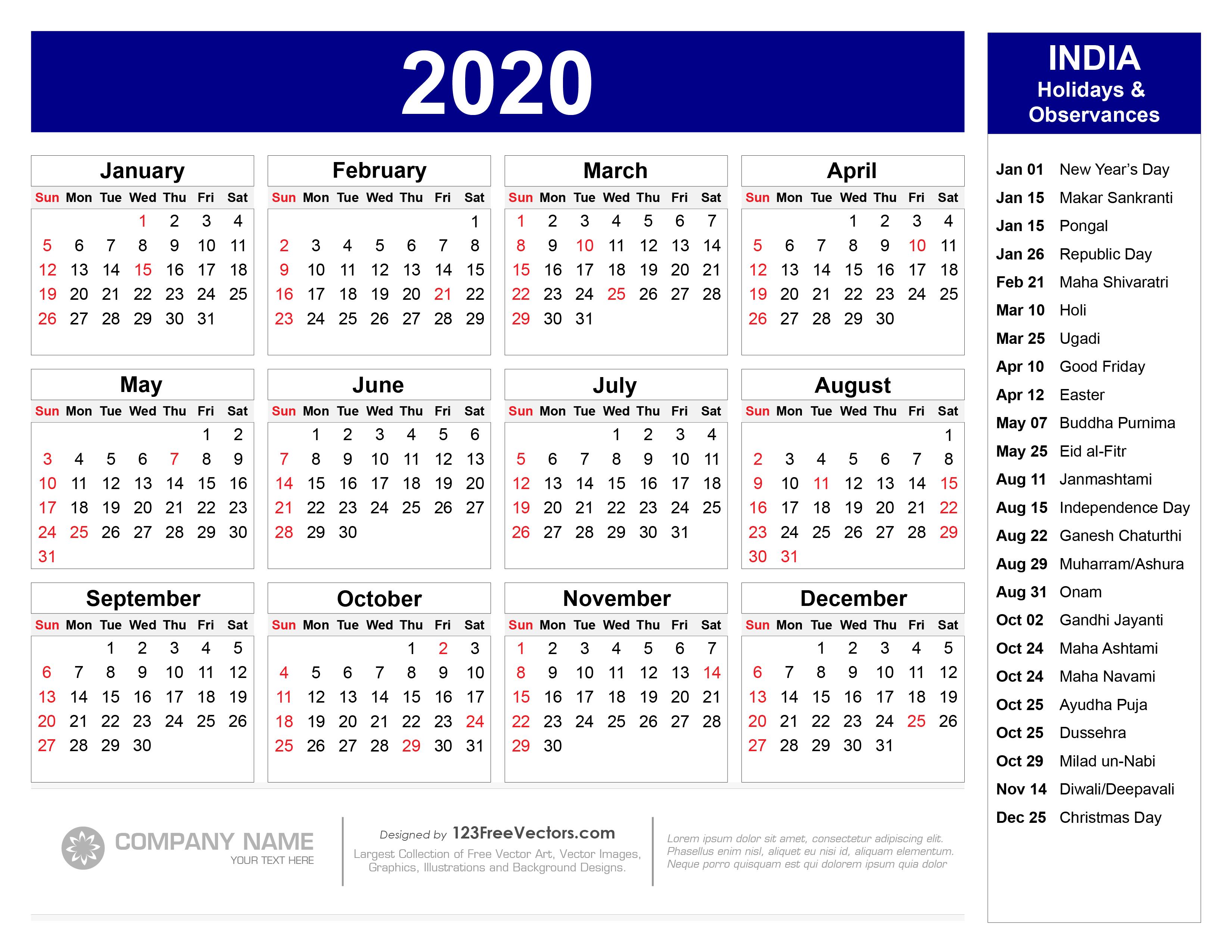 2020 Calendar With Holidays Free 2020 Calendar with Indian Holidays Pdf