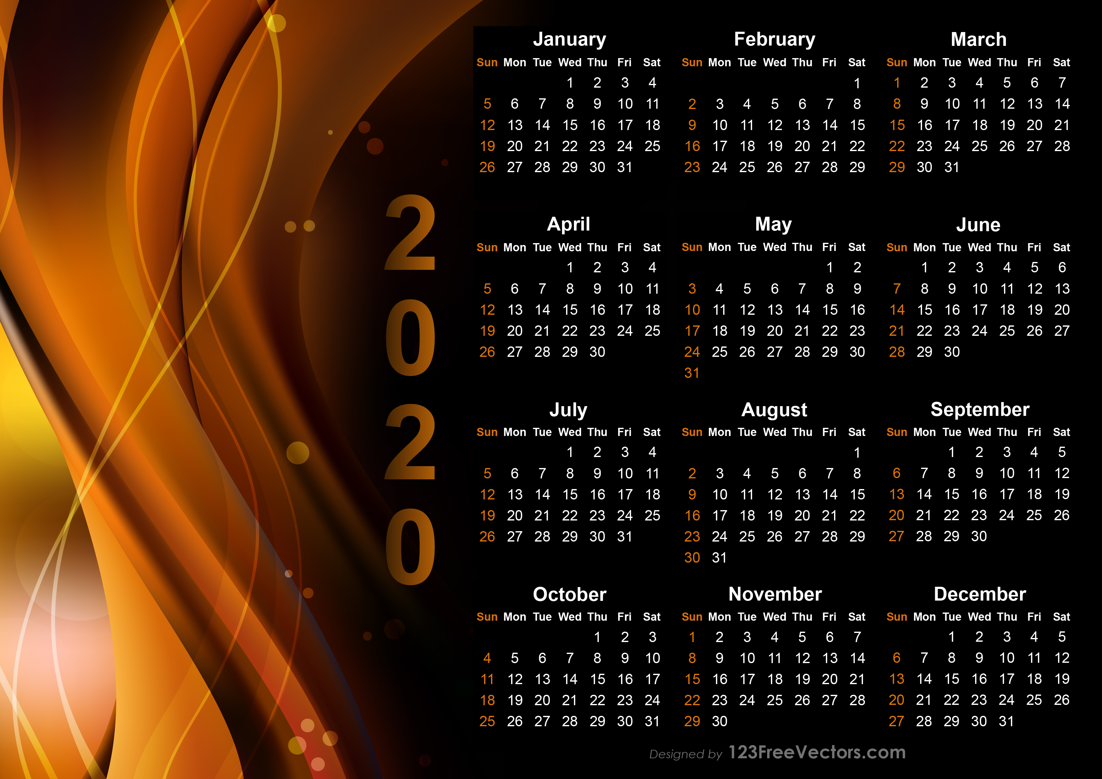 Calendrier 2020 Can.Calendar 2020 Design Templates Free Download