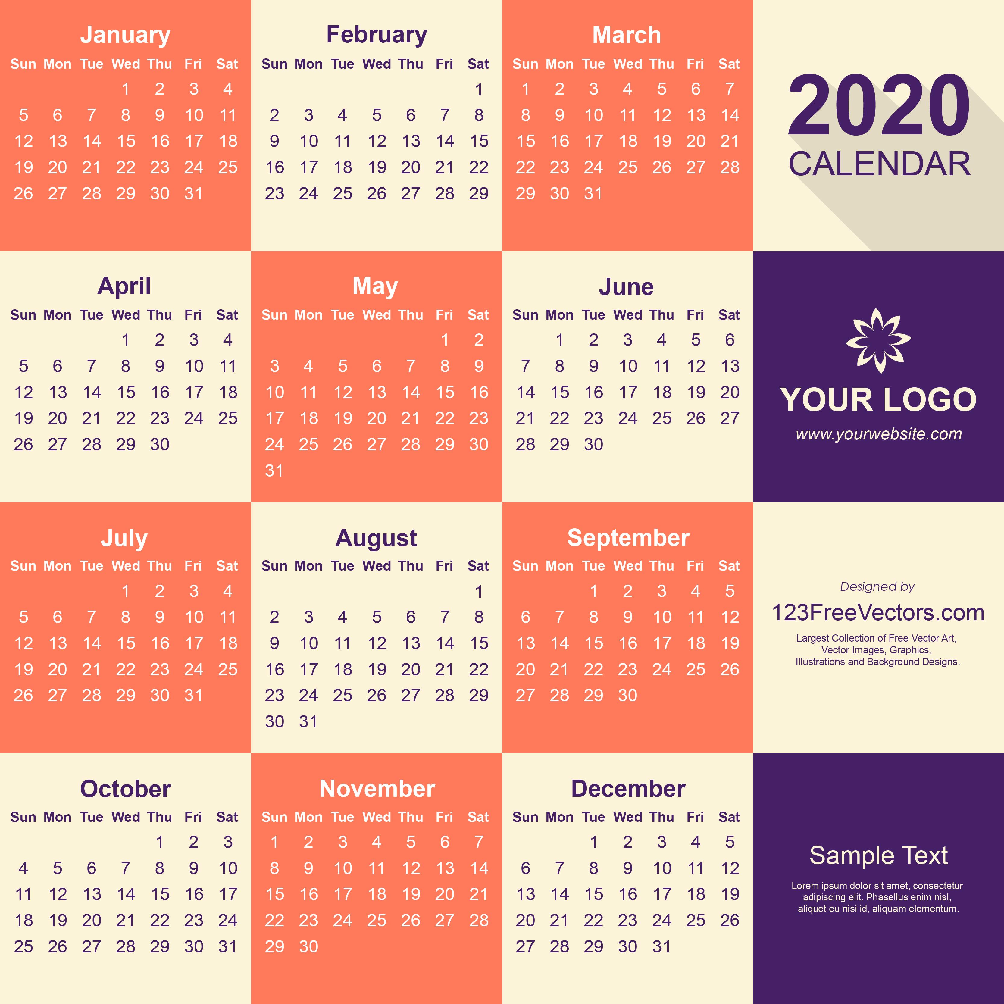 Free 2020 Calendar Pdf Free Download