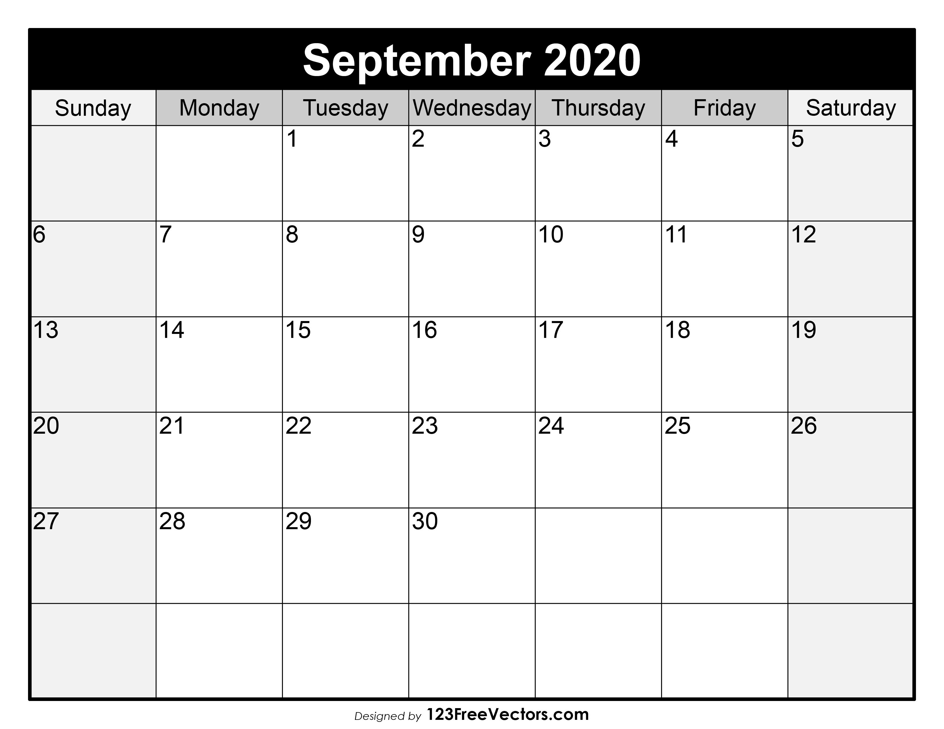 September 2020 - calendar templates for Word, Excel and PDF   Creative Calendar 2020 September