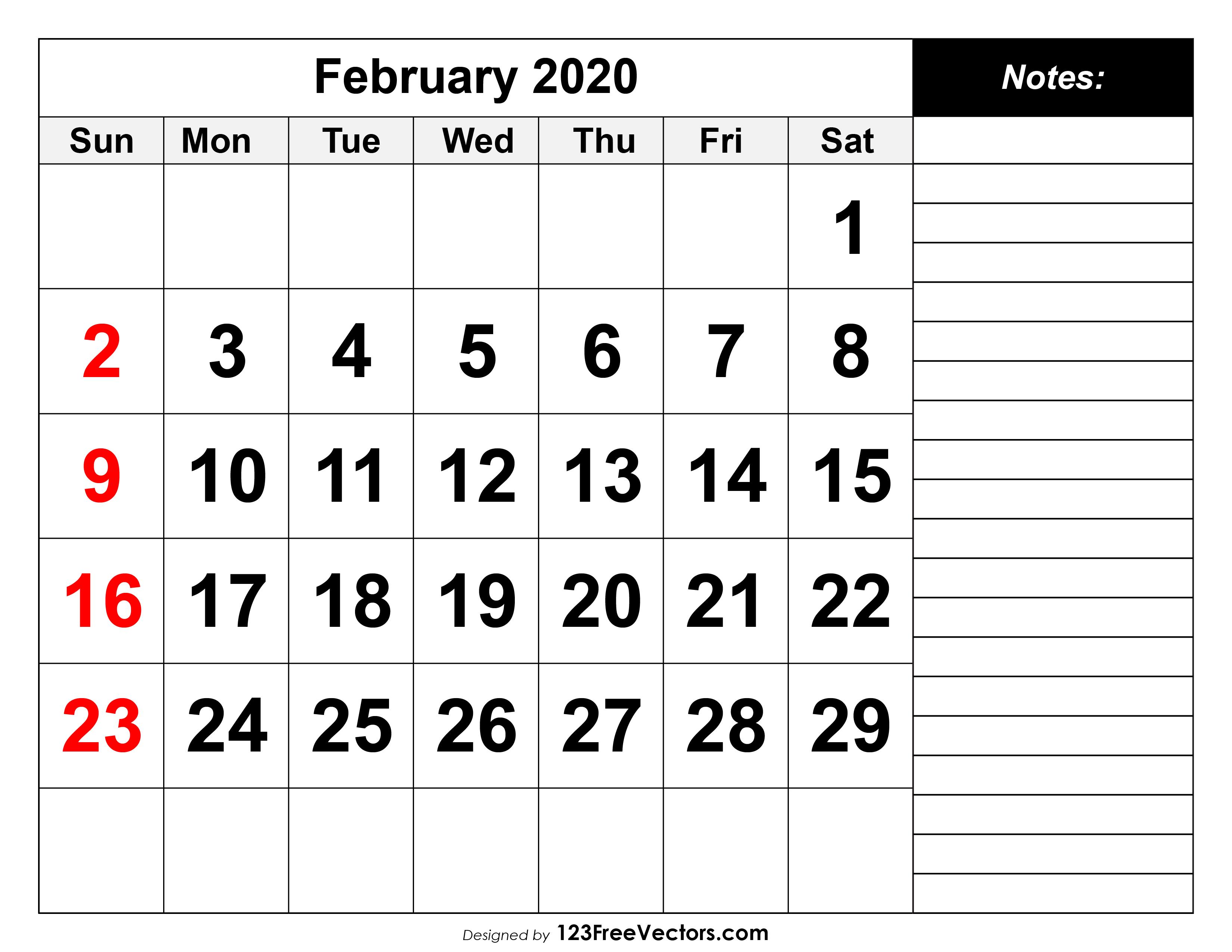 2020 February Calendar Printable.February 2020 Printable Calendar