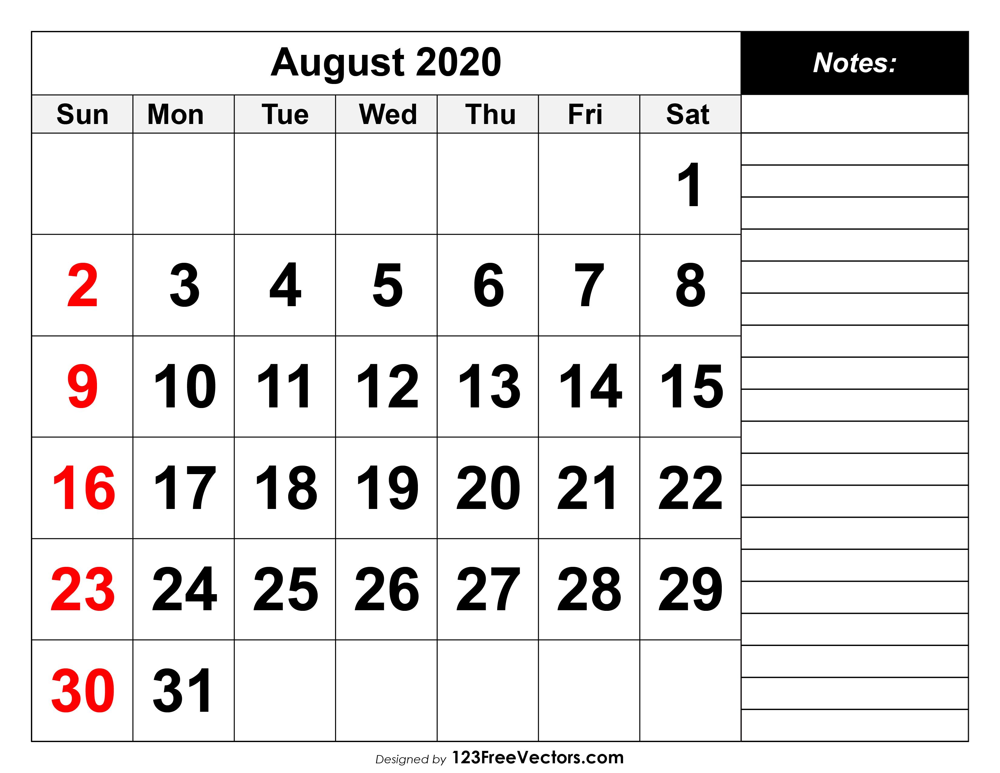 august 2020 printable calender