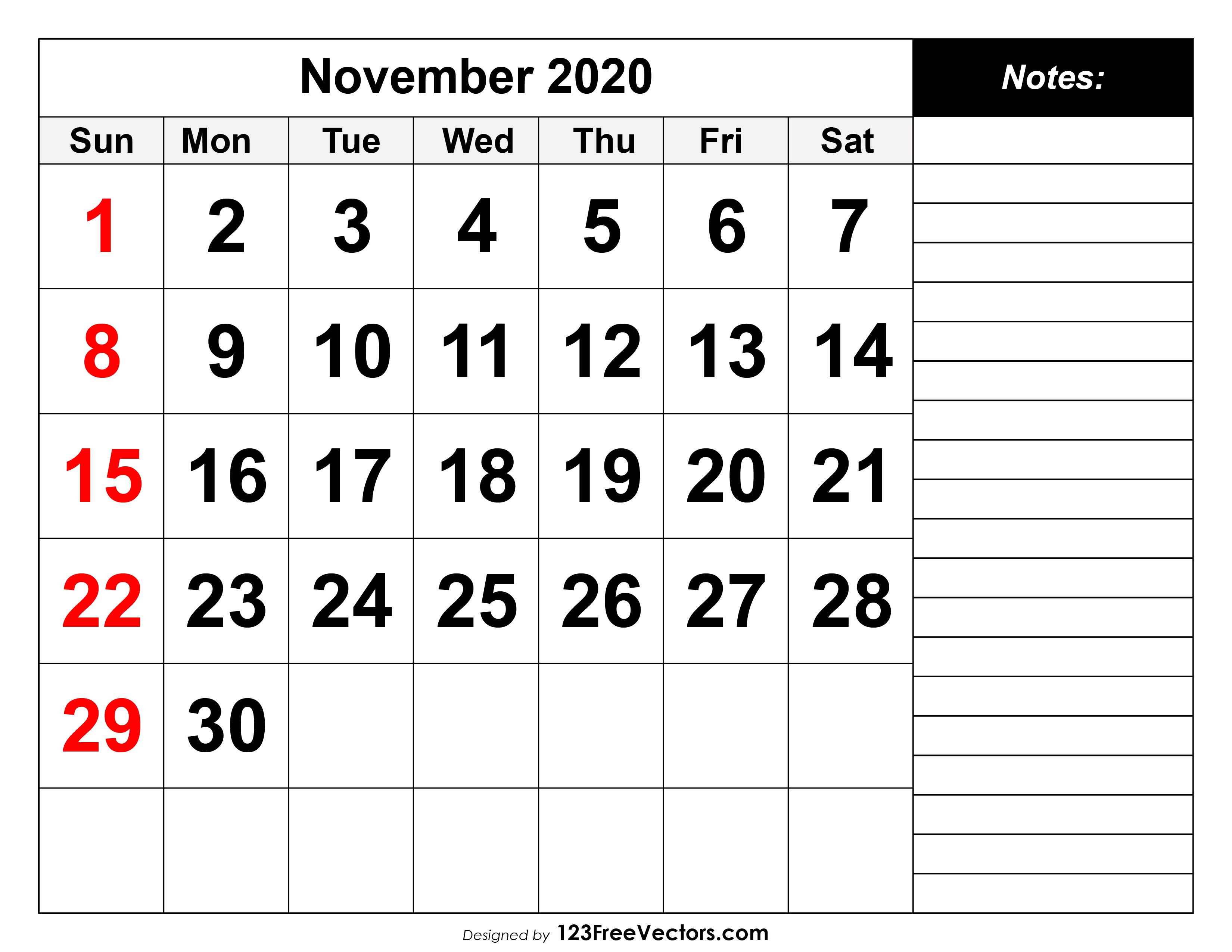 November Calendar 2020 Printable.November 2020 Printable Calendar