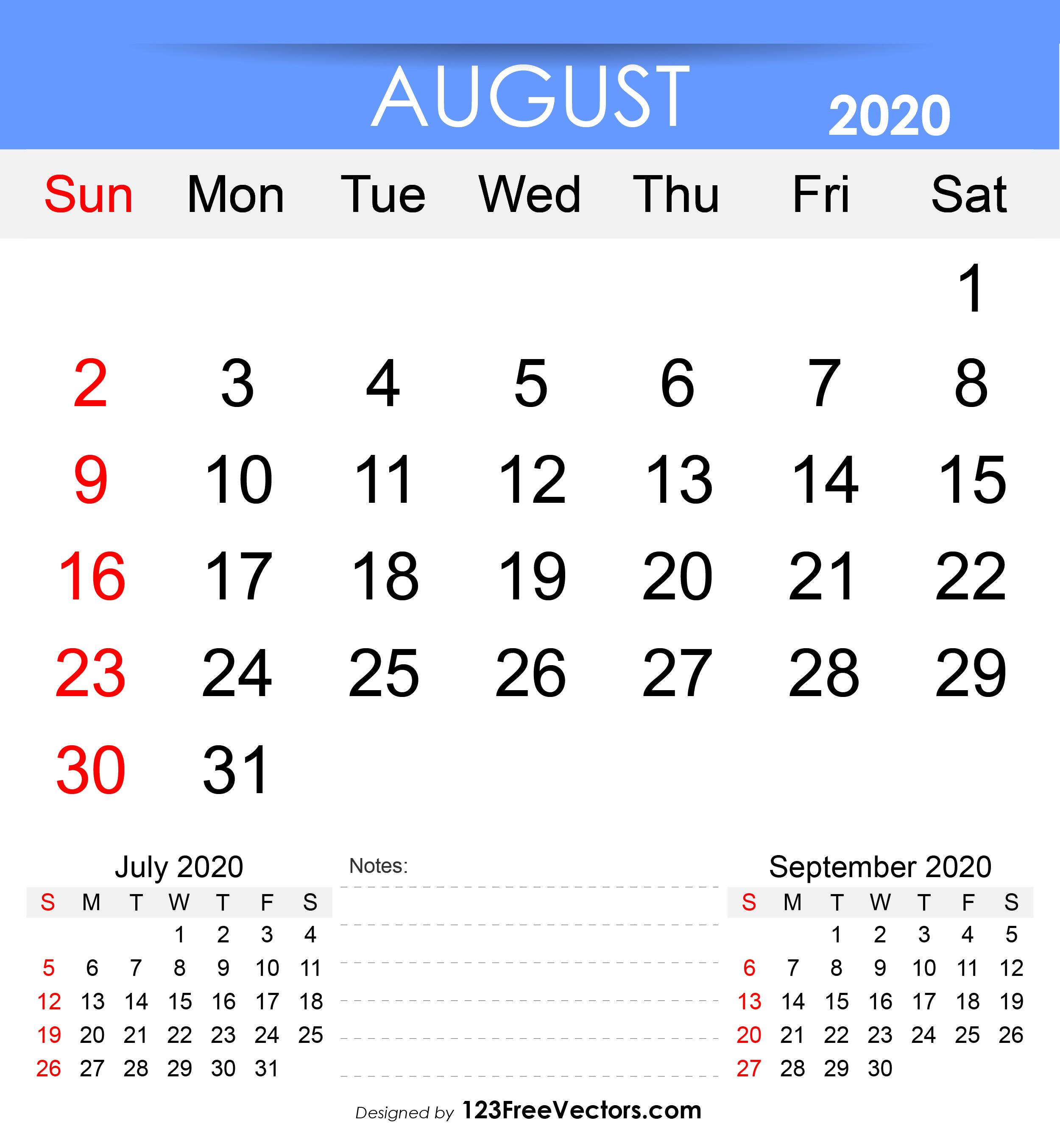 Free Printable August 2020 Calendar.Free Printable August 2020 Calendar