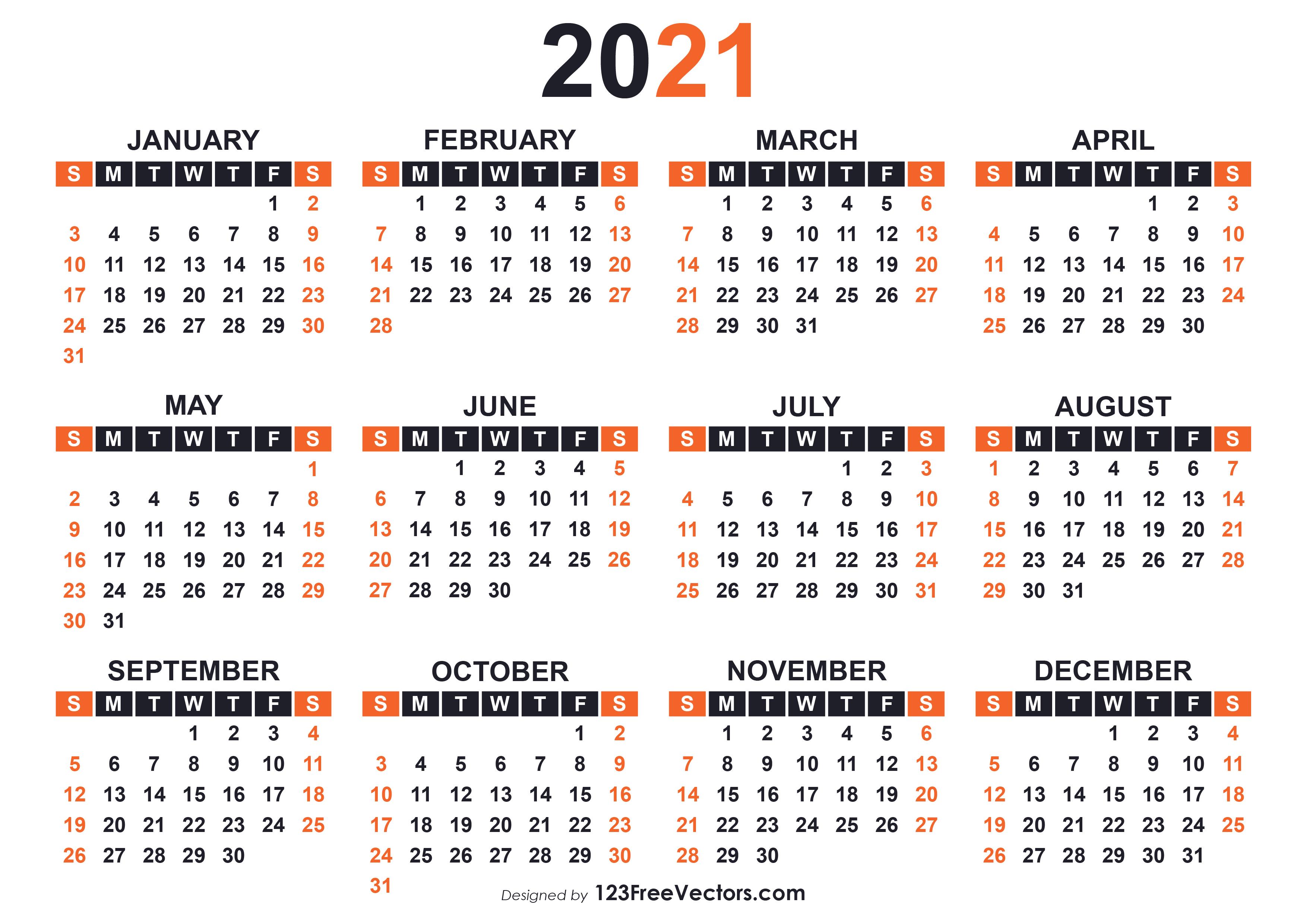 2021 Calendar Editable Free - Free Vector Illustrated 2021 ...