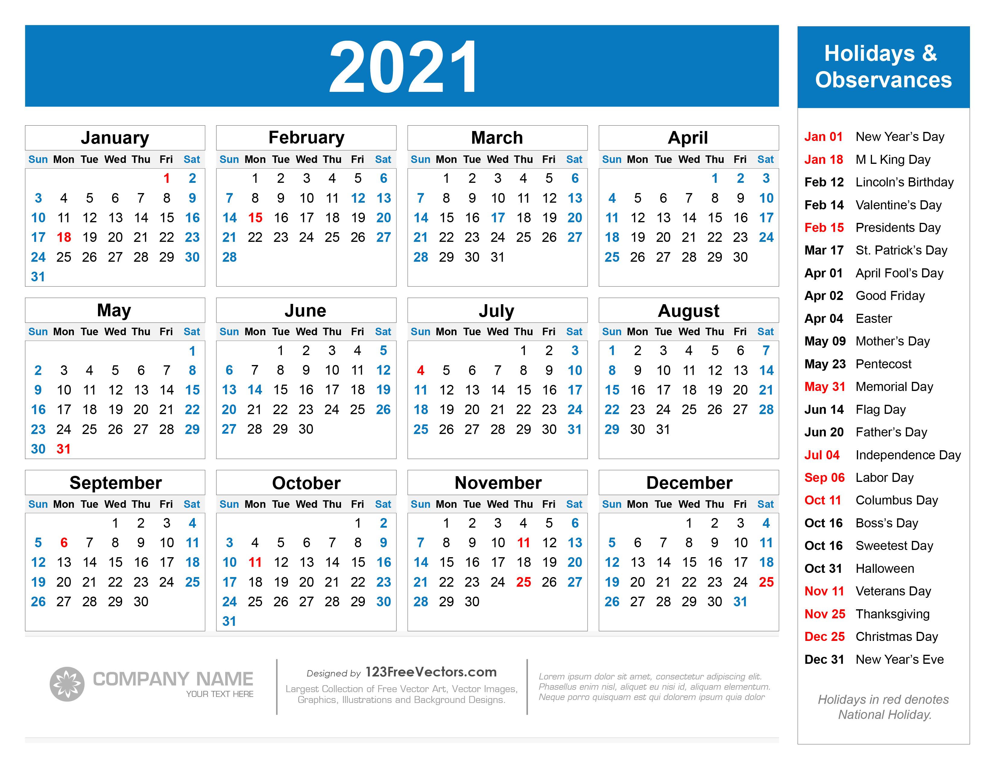 Free Free Printable 2021 Calendar with Holidays