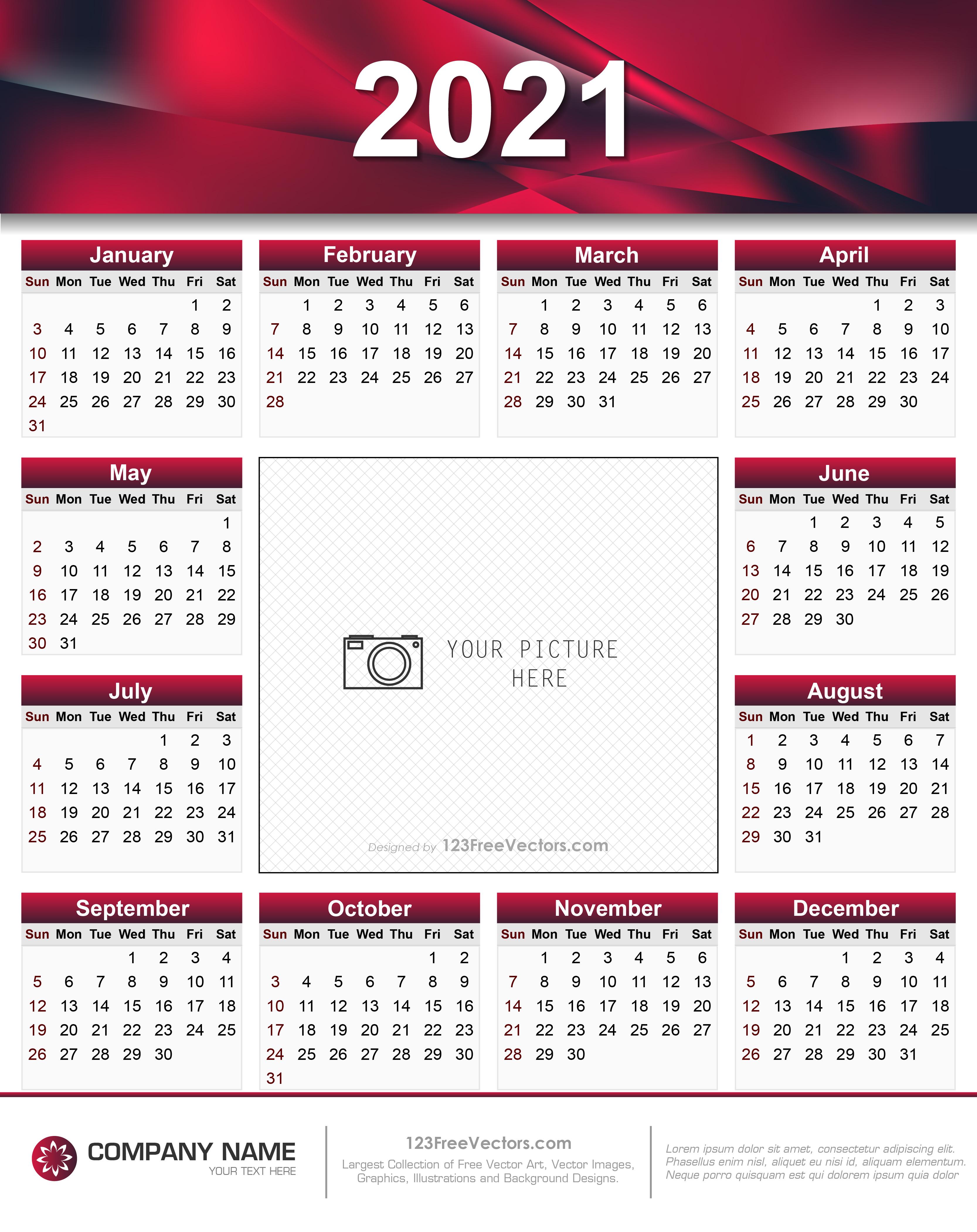 Printable 5 By 8 2021 Calendar : Modern Hand Lettered Free ...