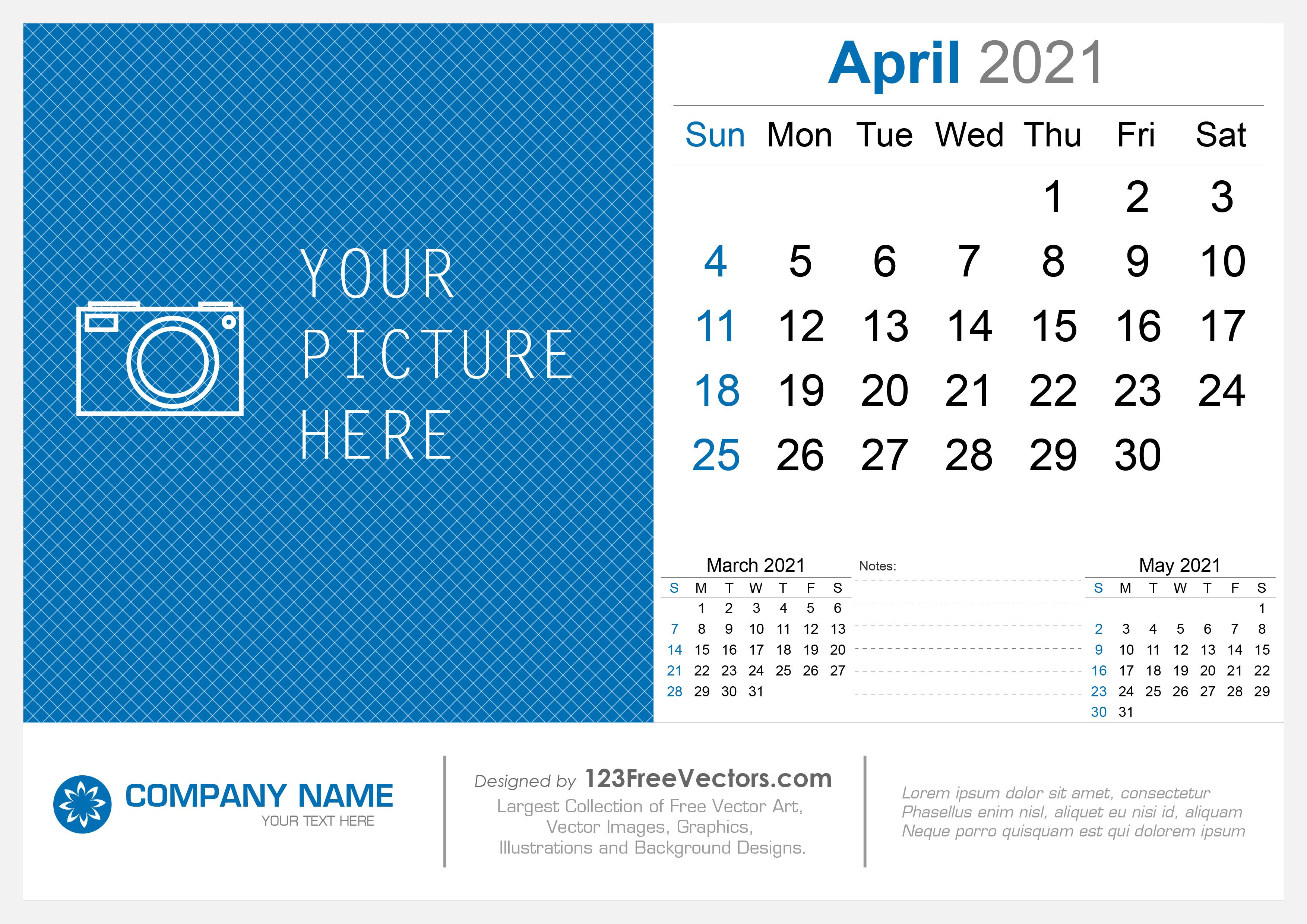 Free April 2021 Desk Calendar
