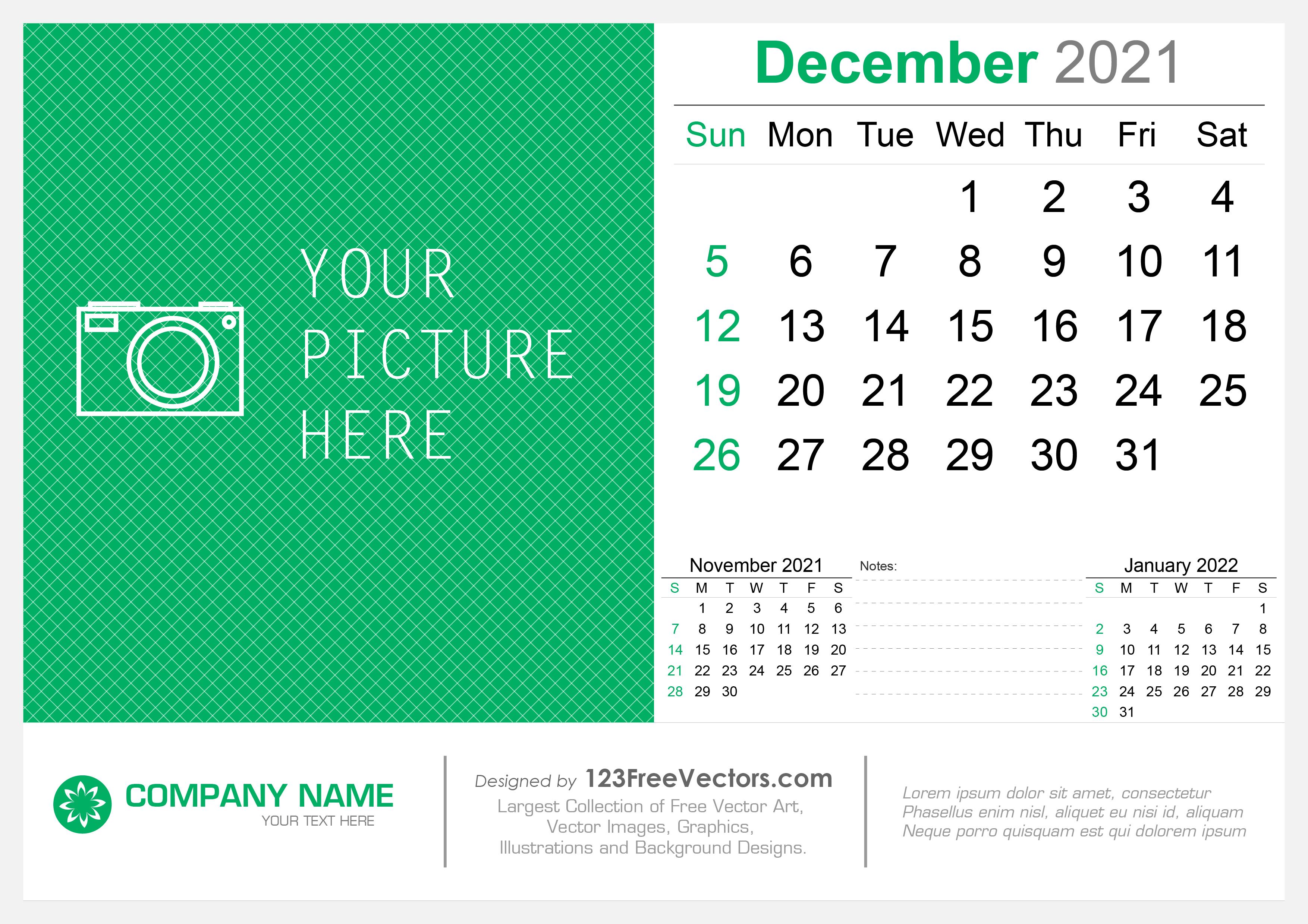 December 2021 Desktop Calendar