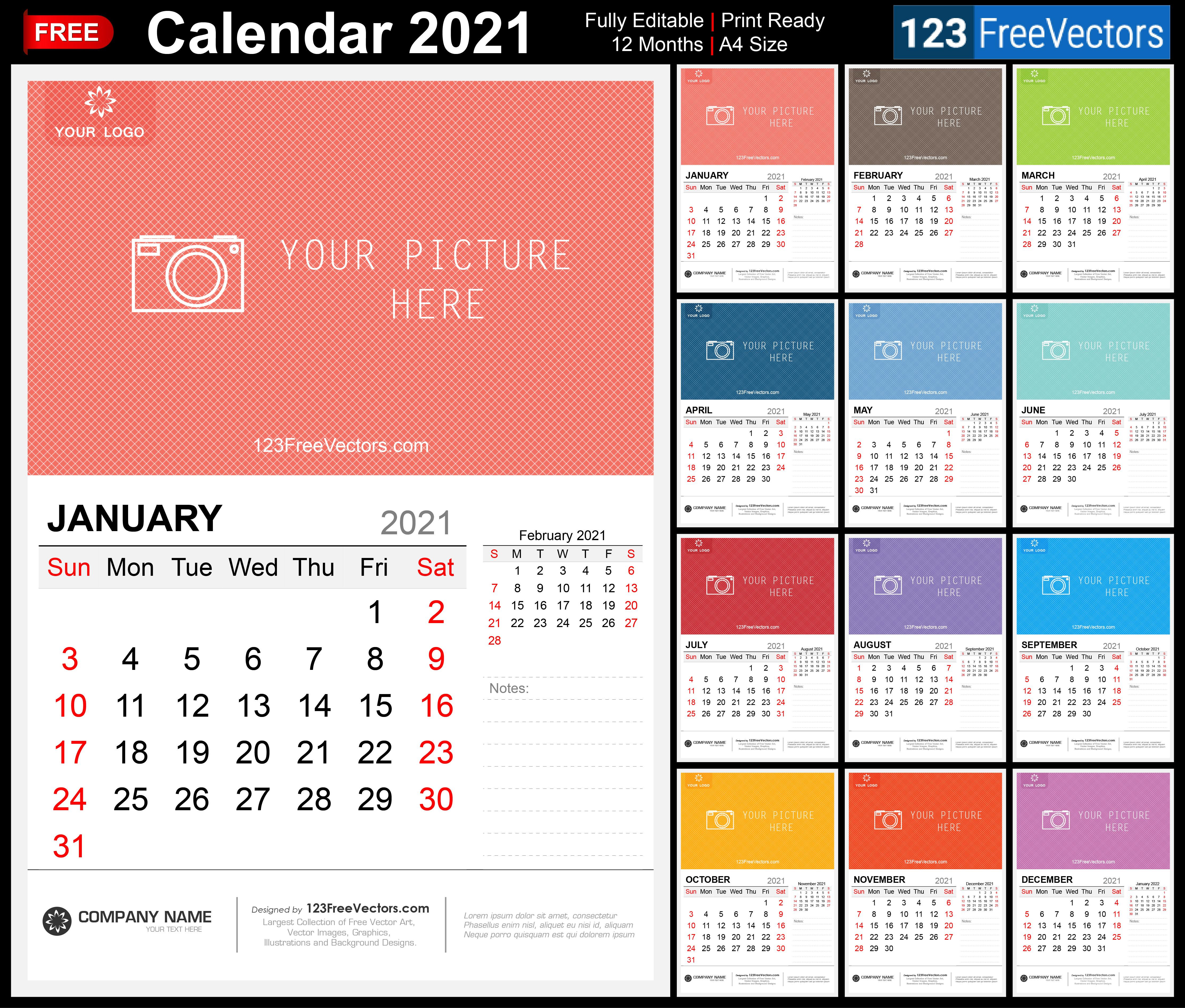 Free 2021 Wall Calendar