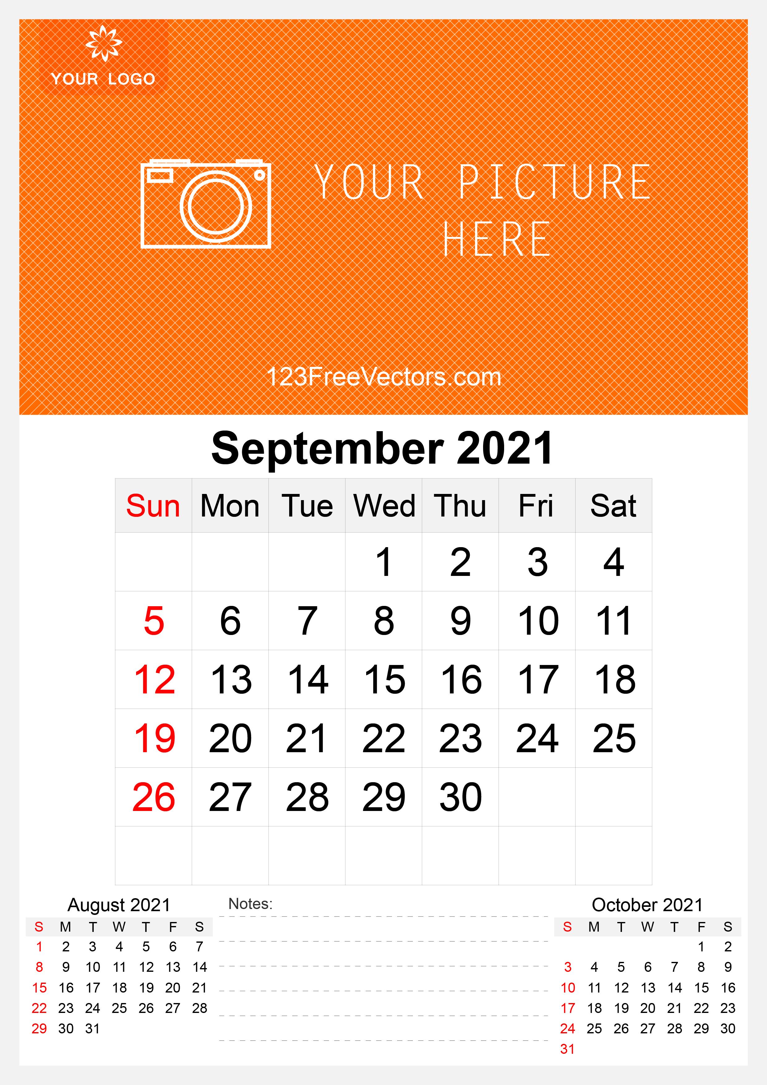 Free 2021 September Wall Calendar Template Free