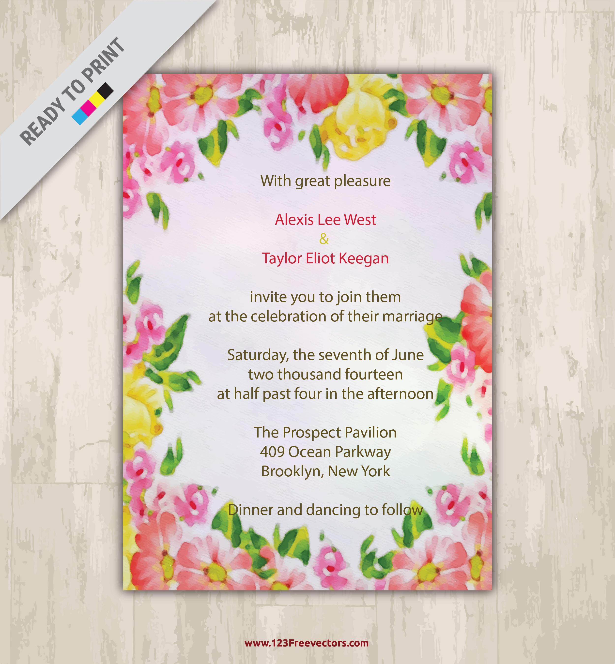 Floral Watercolor Wedding Invitation Vector Graphics | 123Freevectors