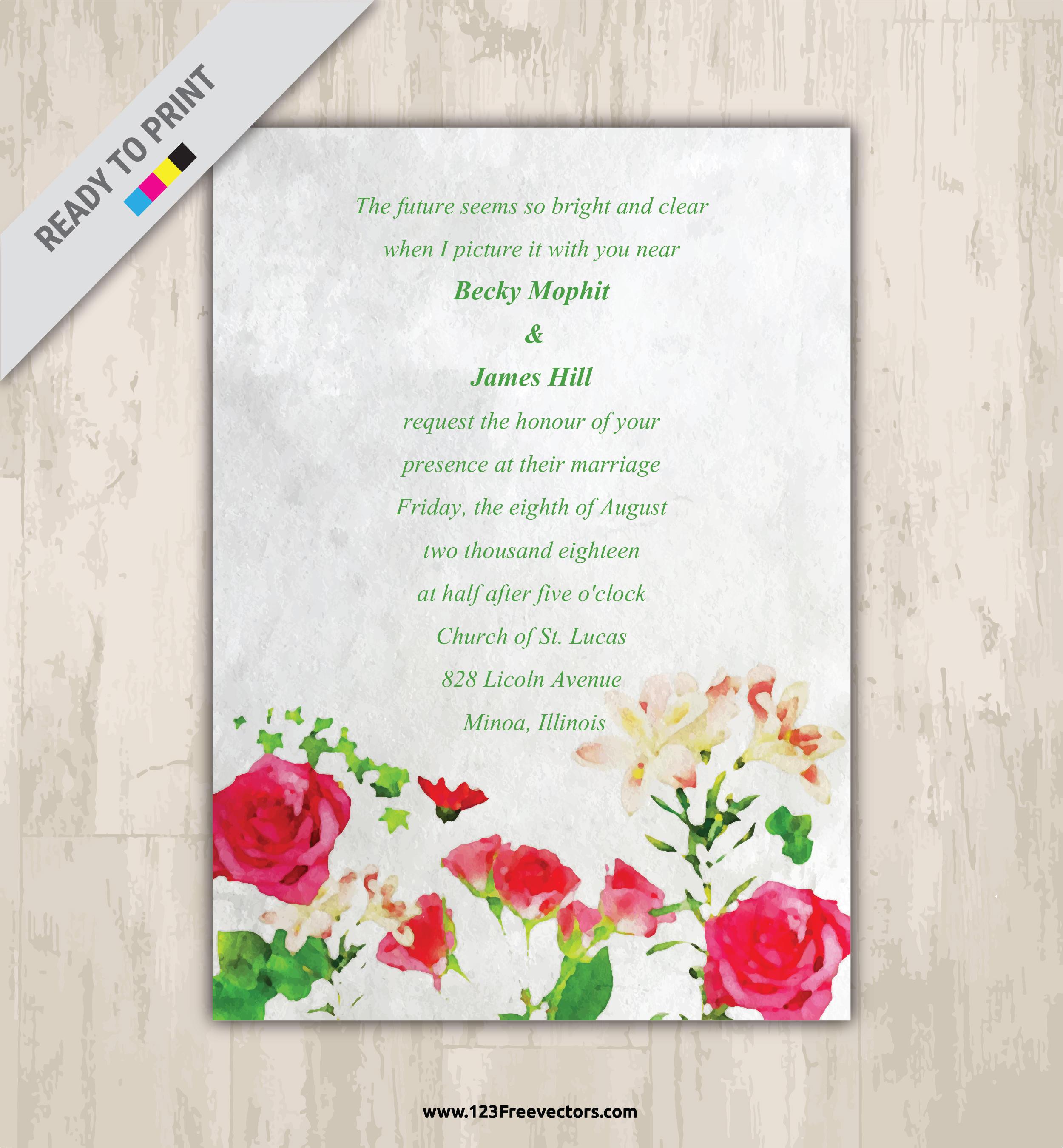Watercolor Floral Wedding Invitation Vector Graphics | 123Freevectors