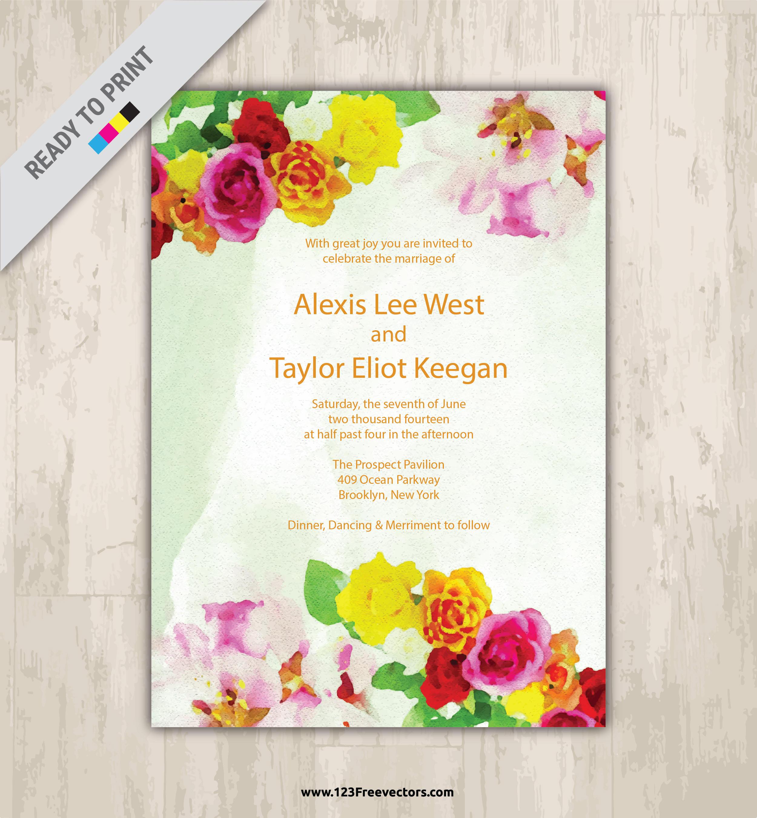 Watercolor Flower Wedding Invitation Vector Graphics | 123Freevectors