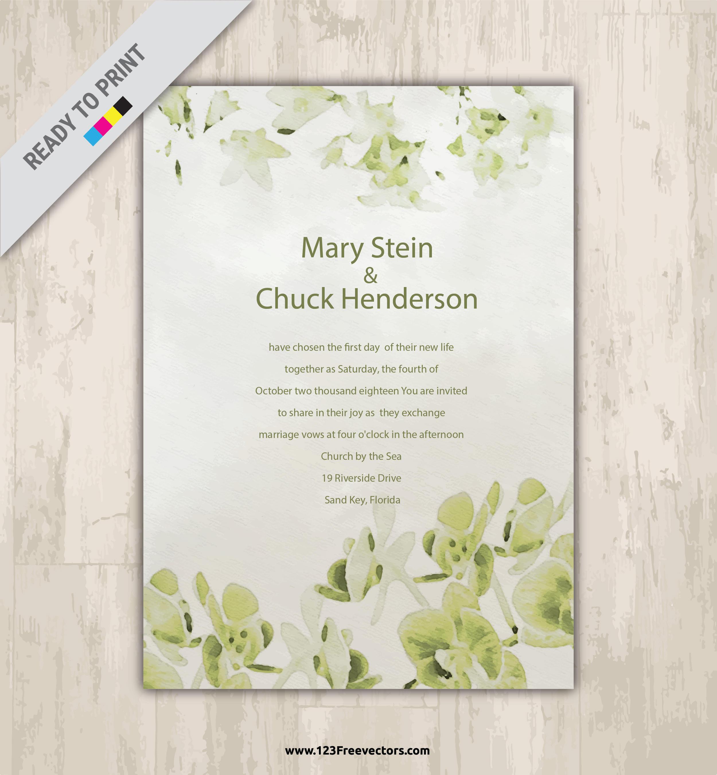 Wedding Invite Template 27 Ideal Watercolor Wedding Invitation Template