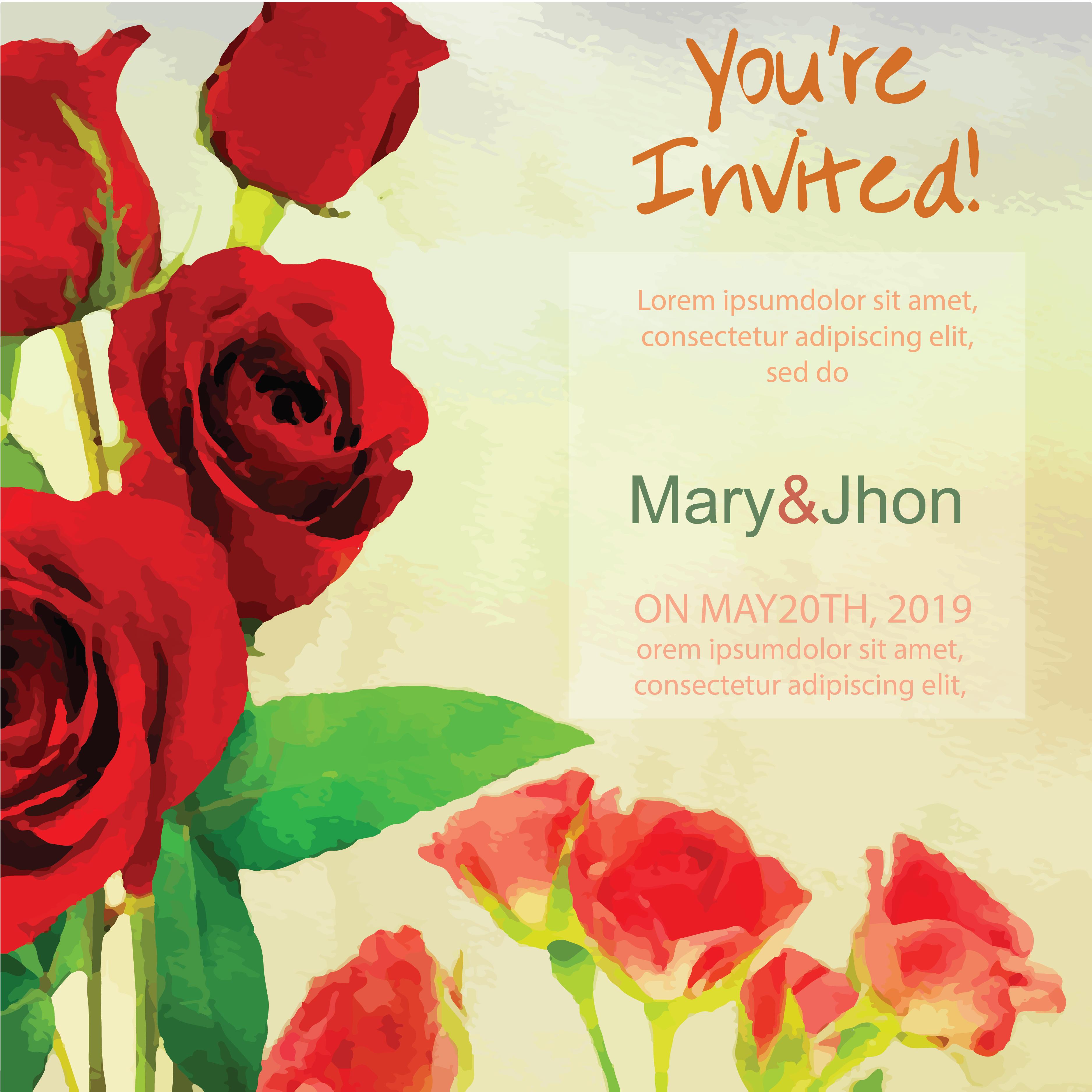 Watercolor Marriage Invitation Card Vector Graphics | 123Freevectors