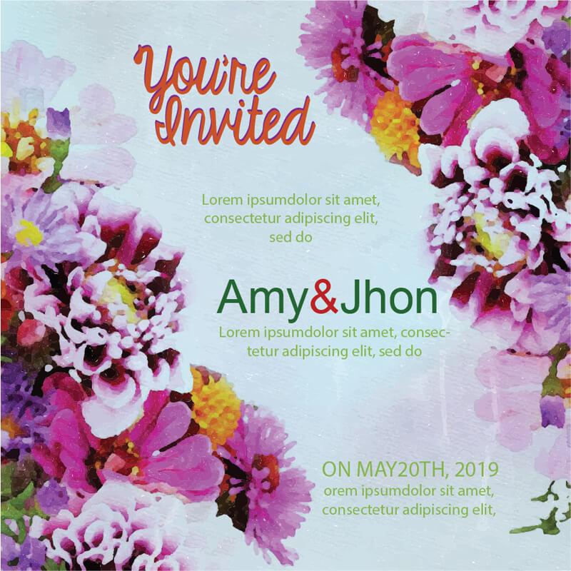 Watercolor marriage invitation card vector image 123freevectors stopboris Gallery