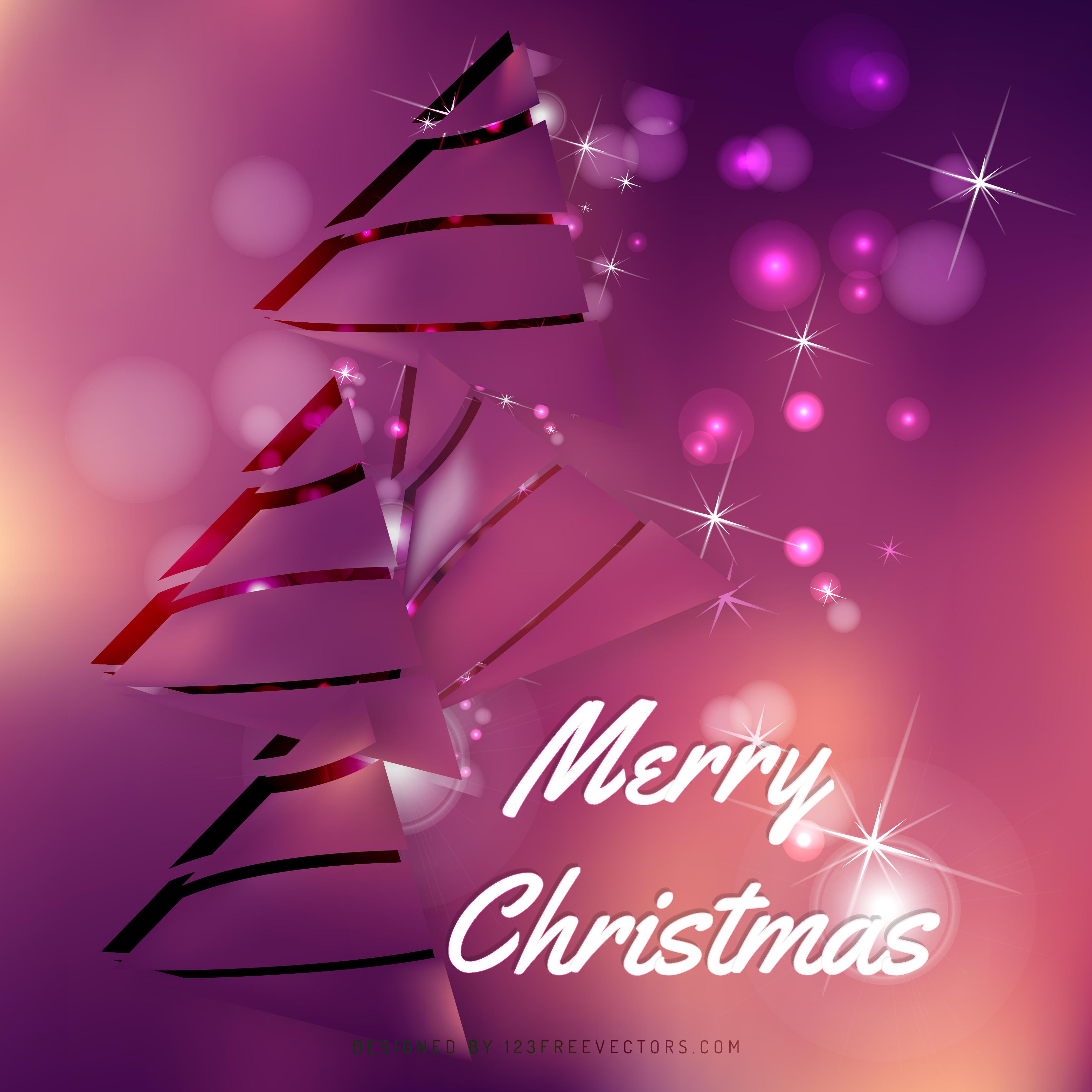 Pink Christmas Tree Background Image
