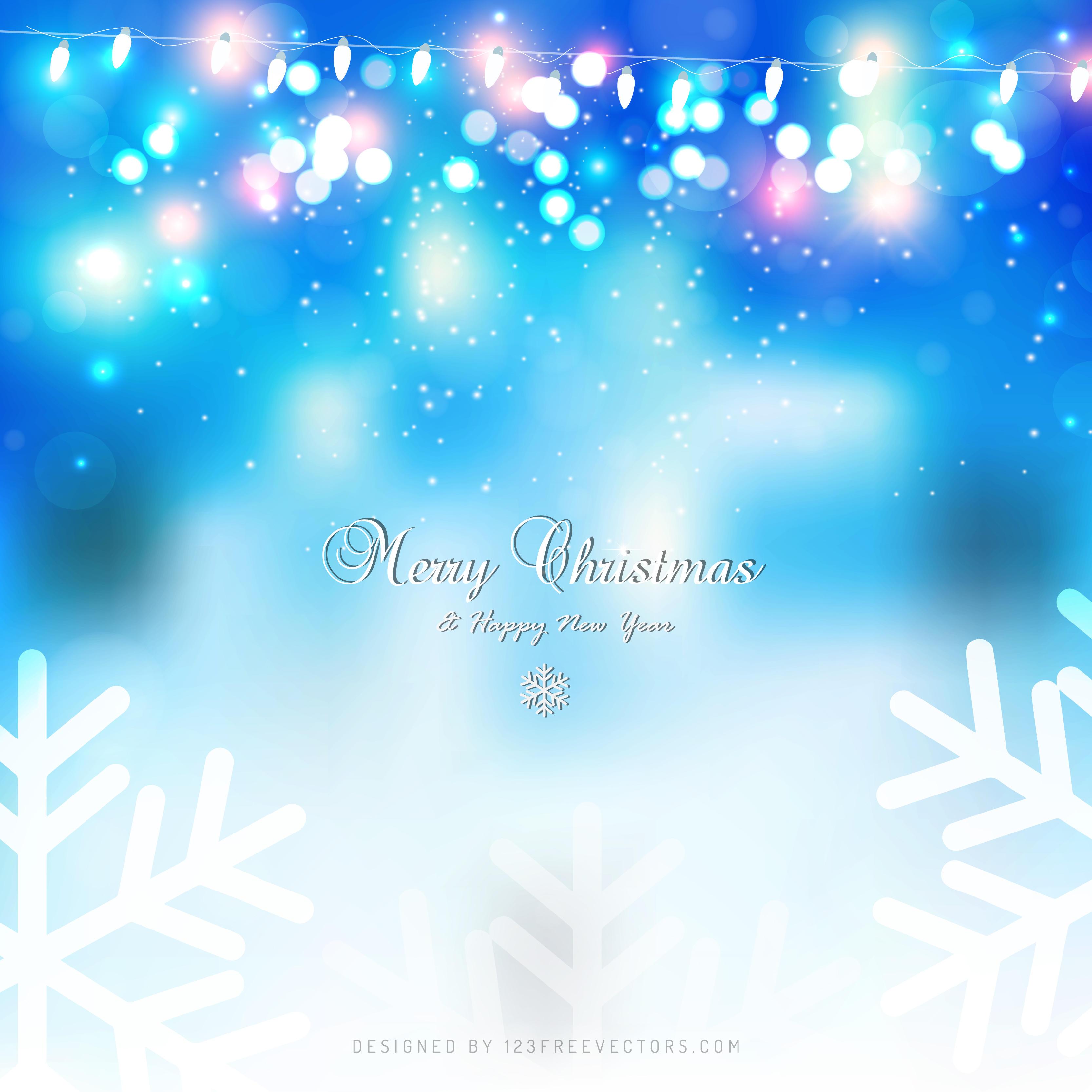 light blue christmas lights background design 123freevectors - Light Blue Christmas Lights