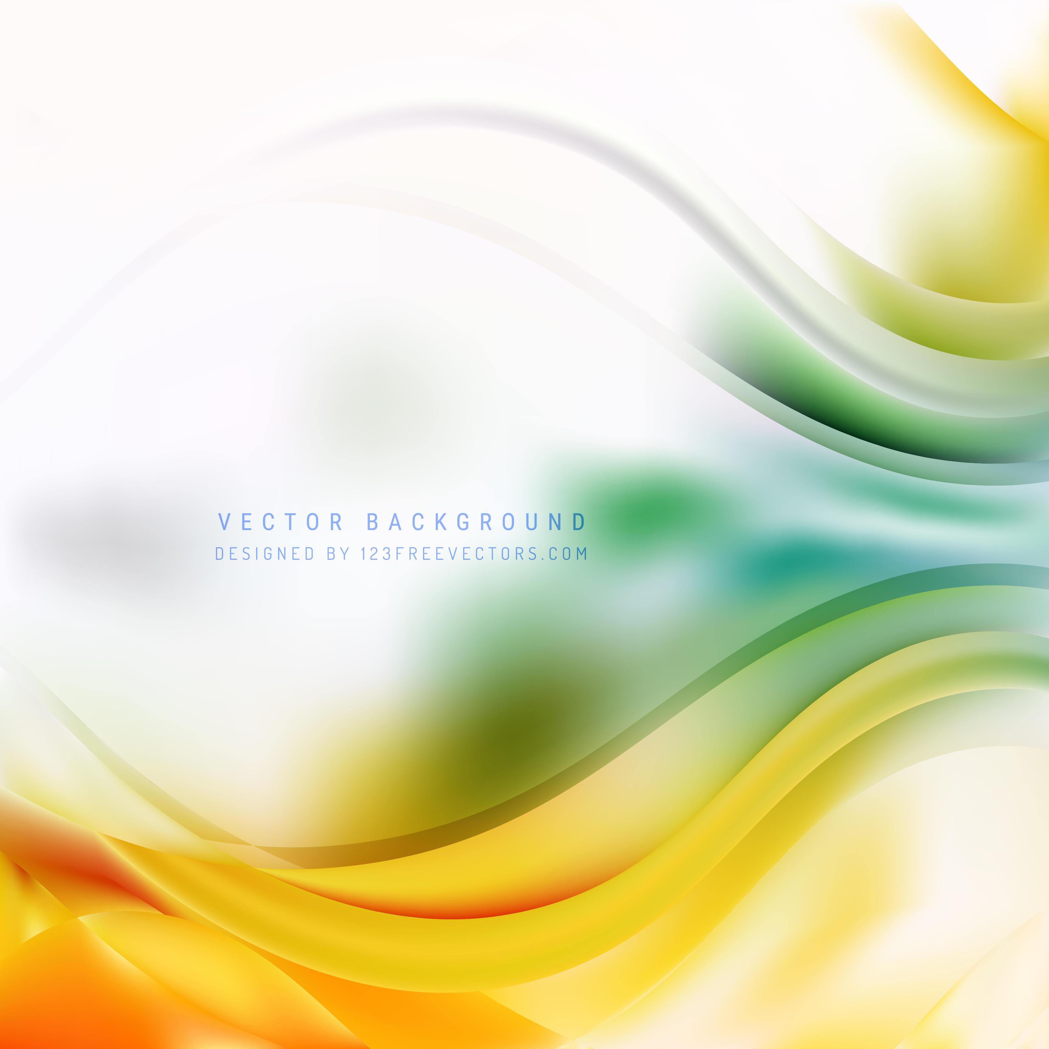 Abstract Orange Green Wave Design Background