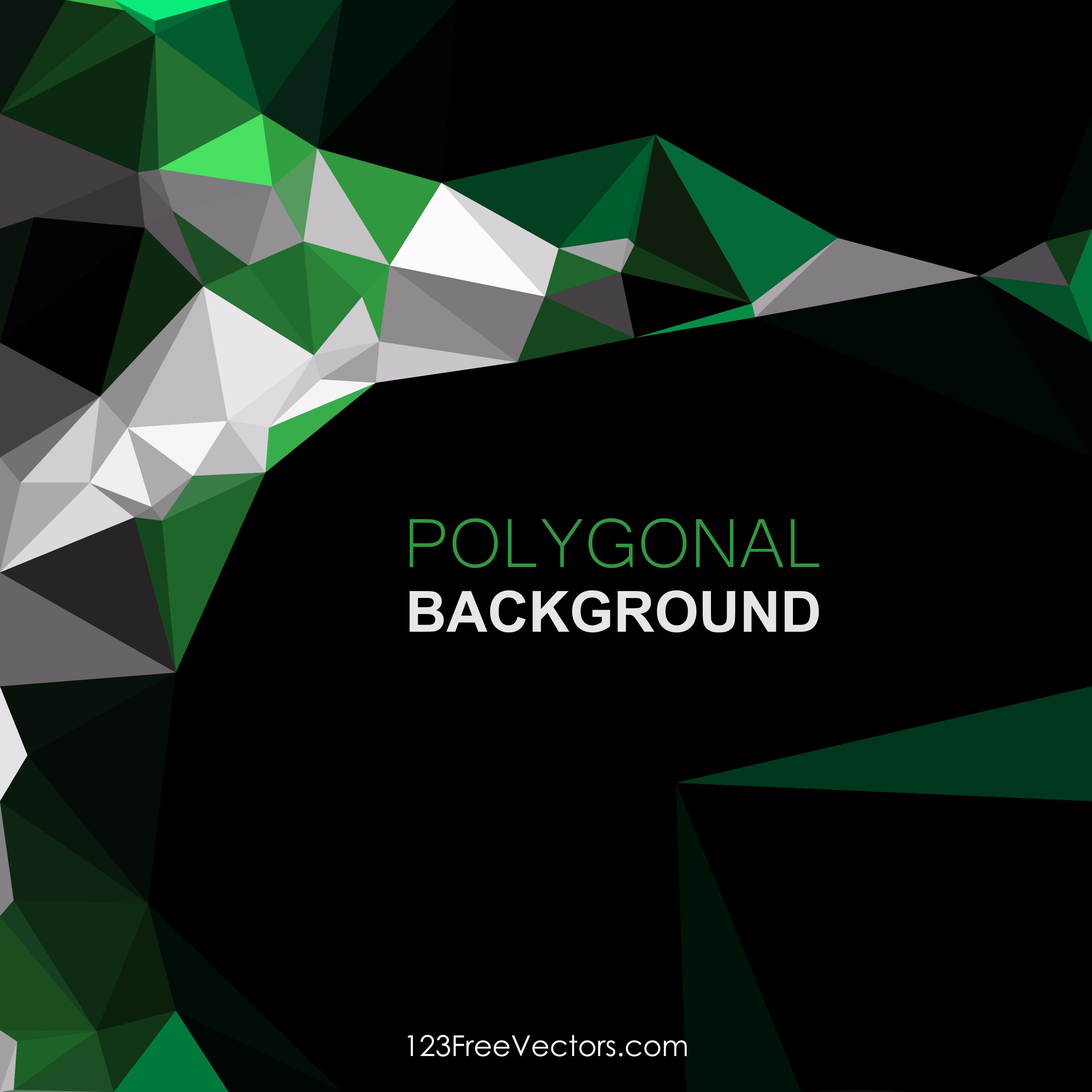 Black Green Geometric Polygon Background Image