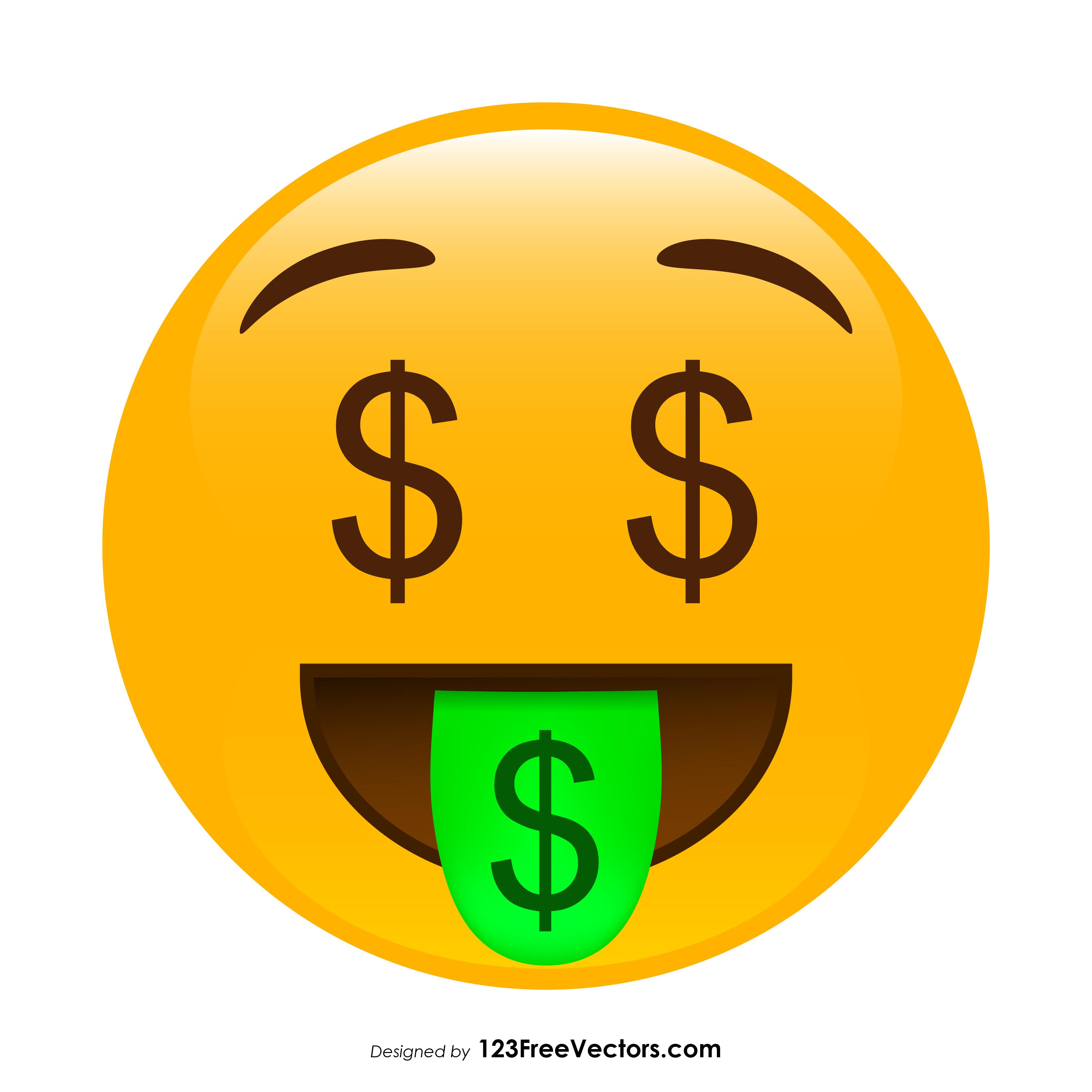 Money-Mouth Face Emoji Graphics