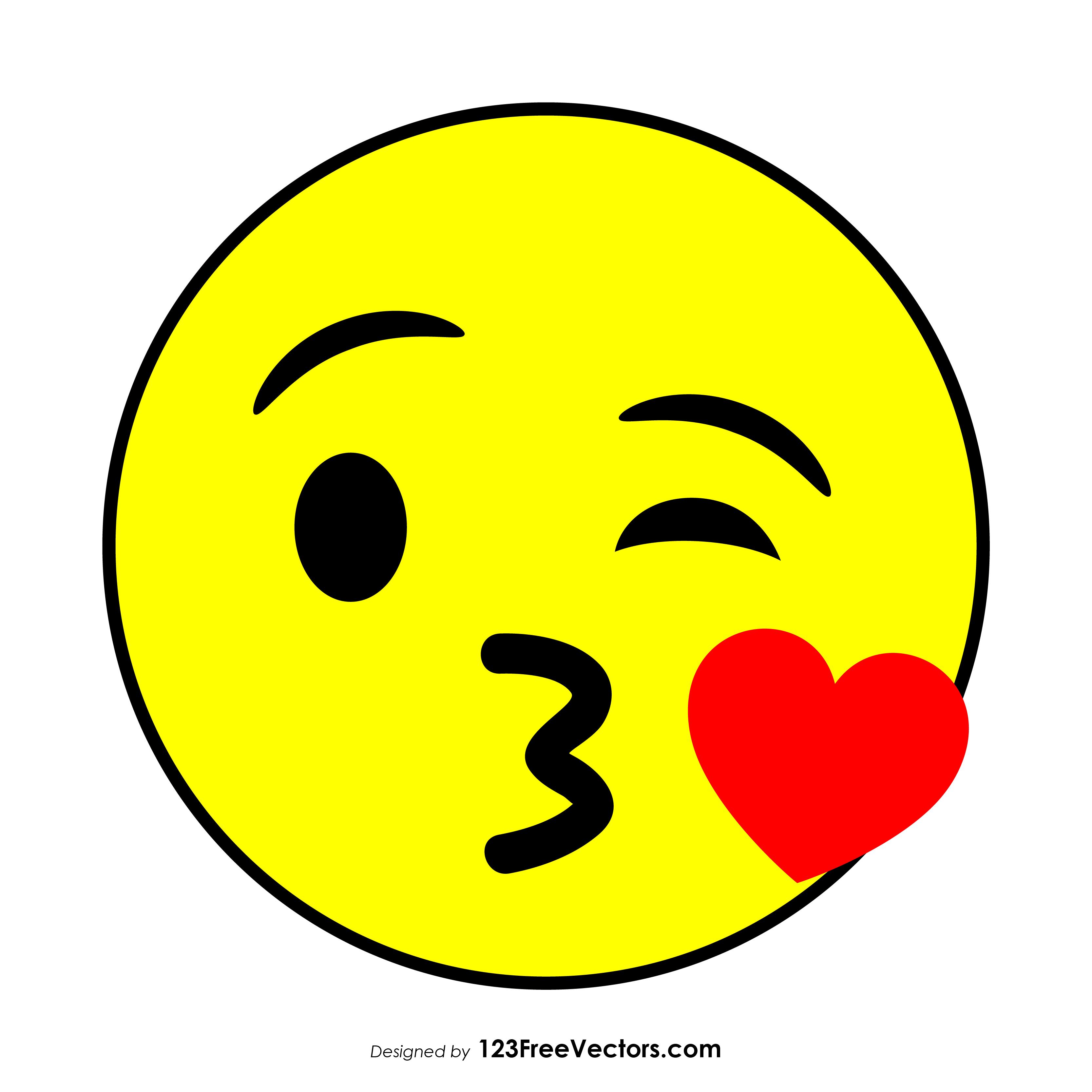flat face blowing a kiss emoji 123freevectors
