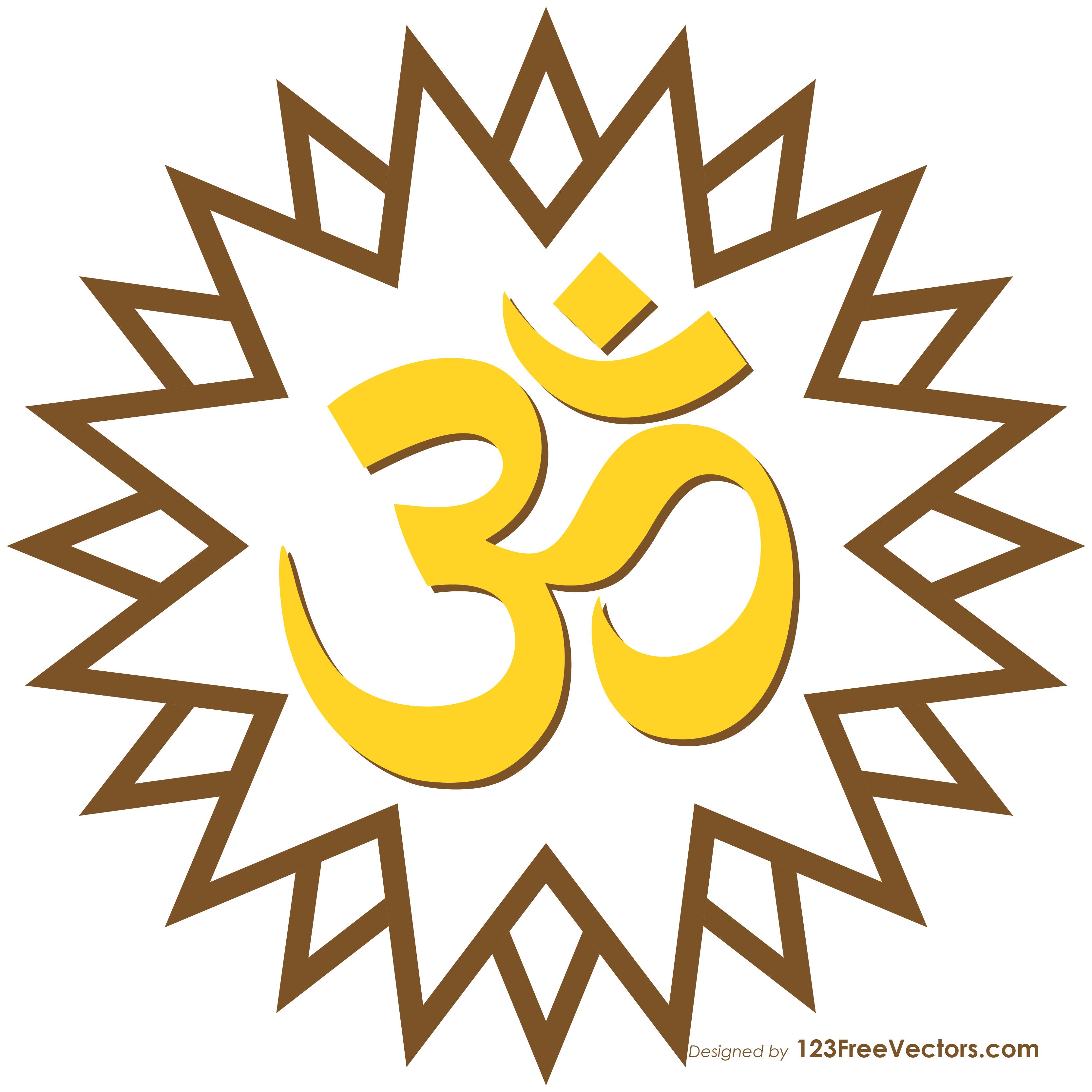 Aum Om Star Hindu Symbol Graphic 123freevectors