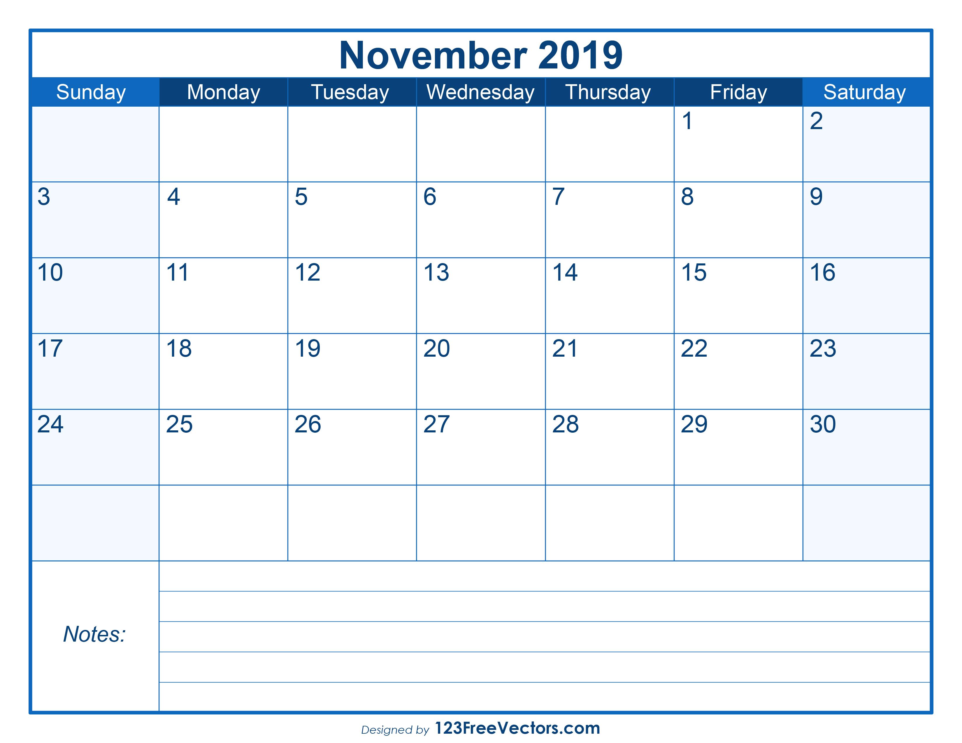 blank printable november calendar 2019