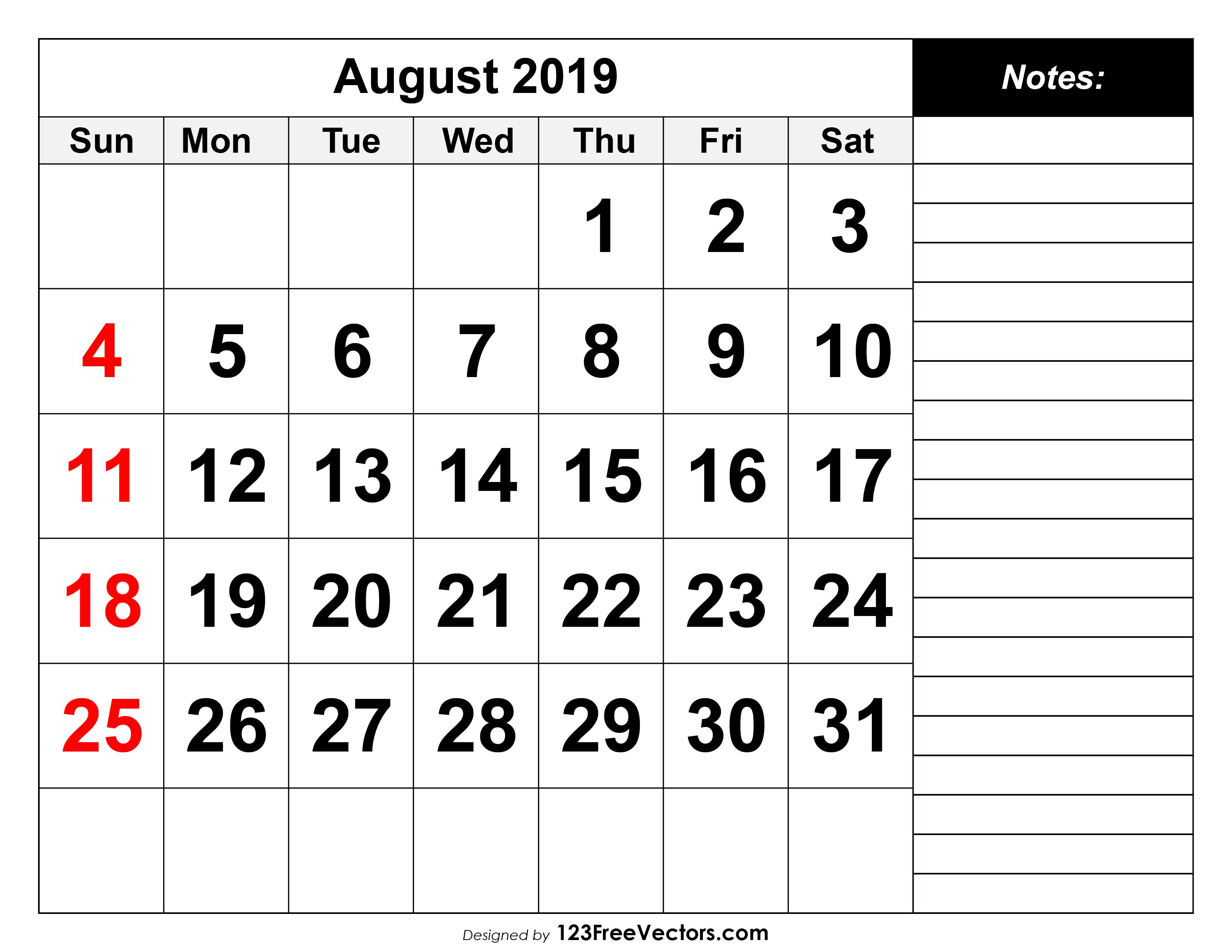 August 2019 Calendar.August 2019 Printable Calendar