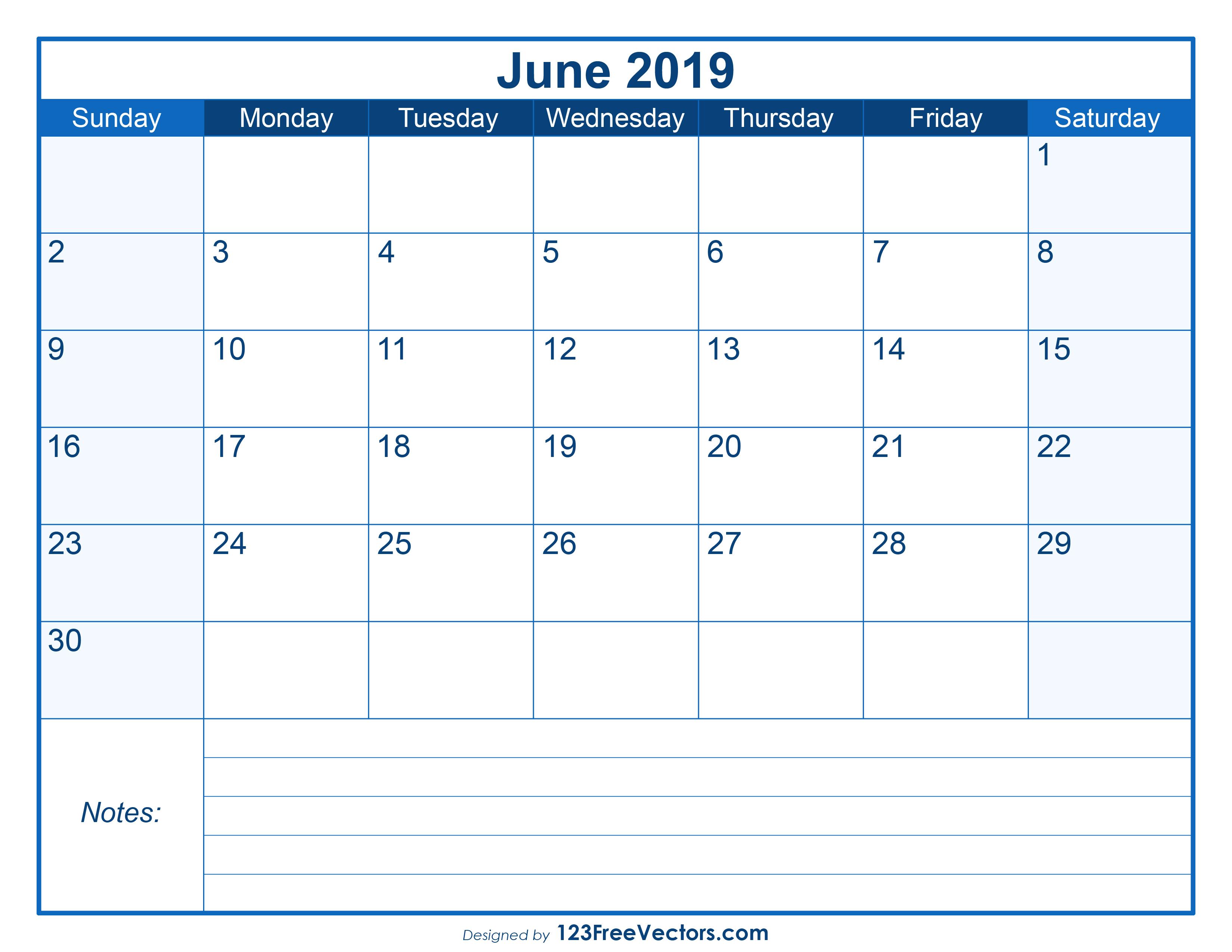 blank printable june calendar 2019 123freevectors